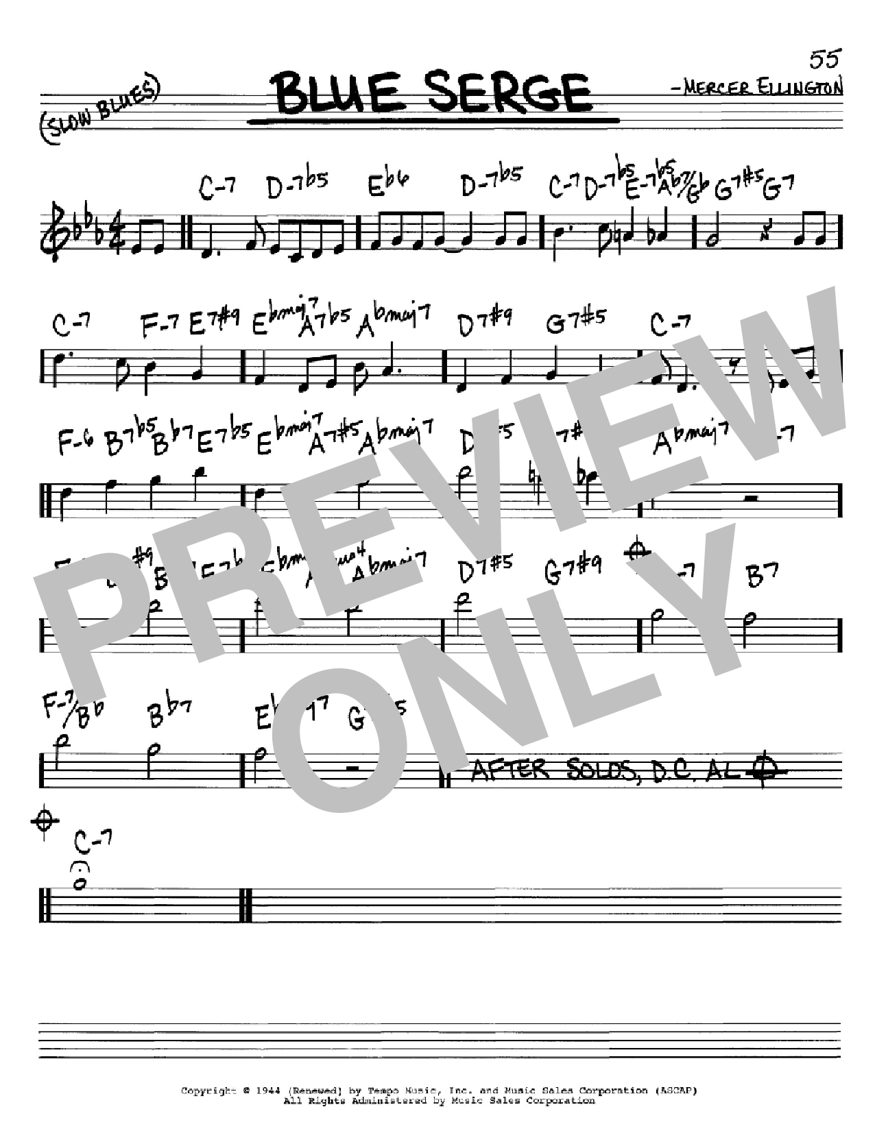 Blue Serge (Real Book – Melody & Chords – C Instruments)