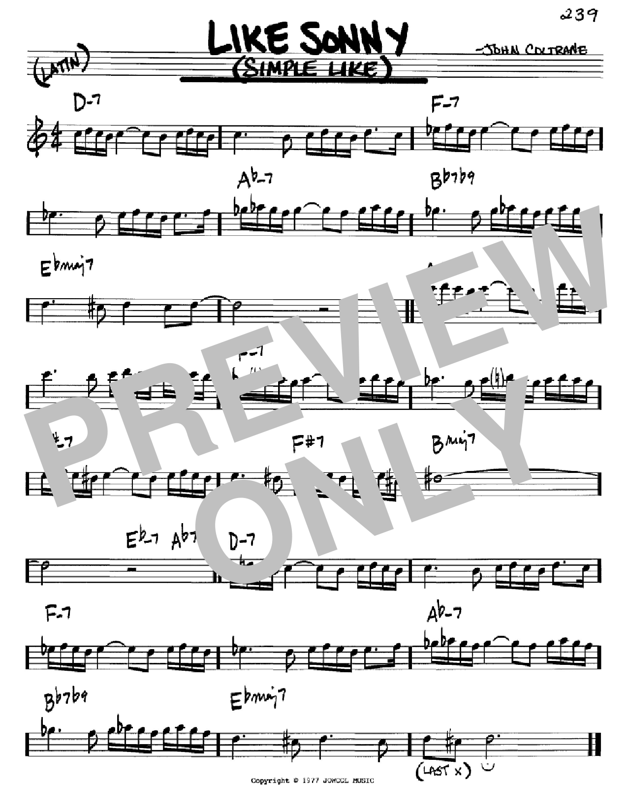 Like Sonny (Simple Like) (Real Book – Melody & Chords – C Instruments)