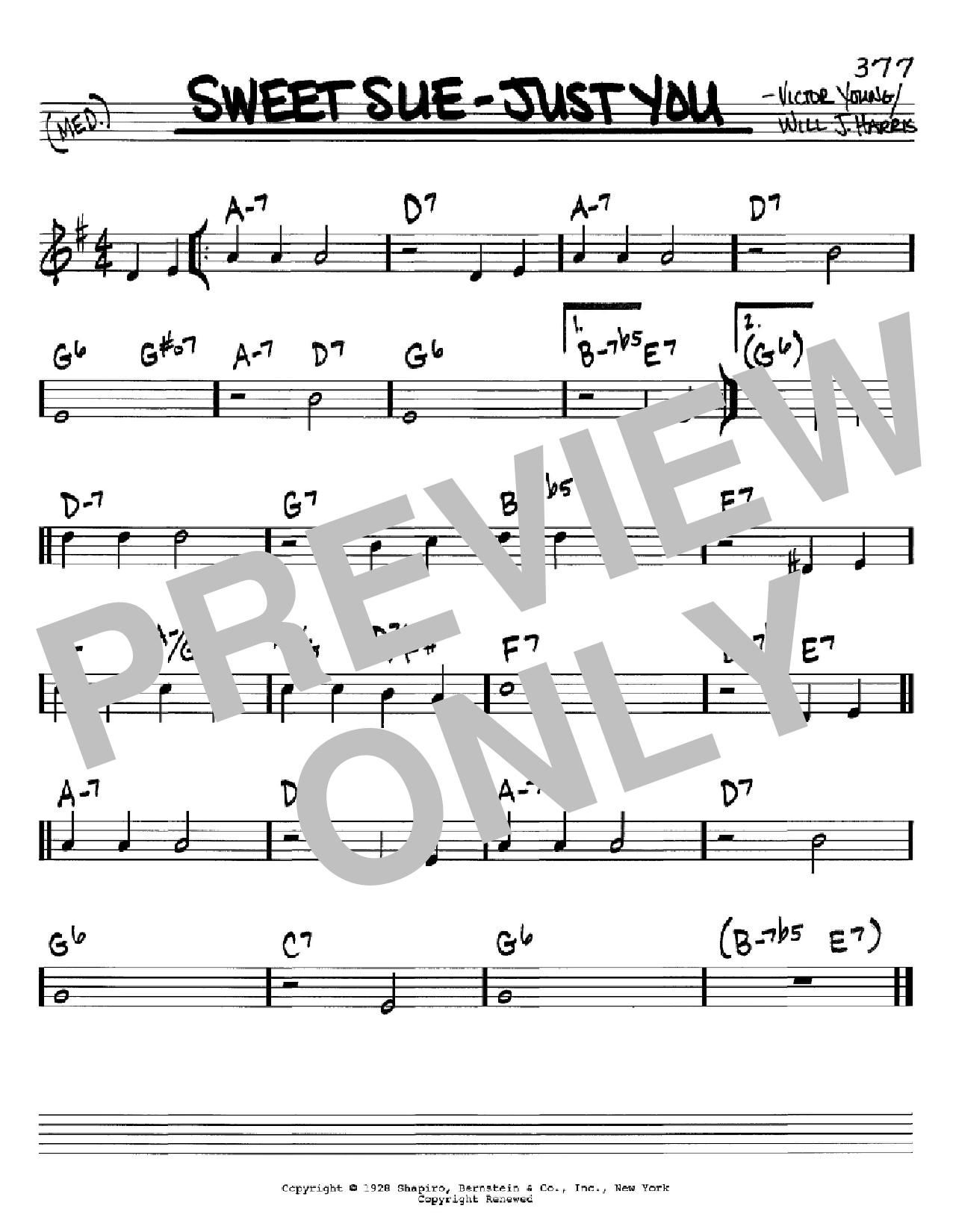 Sweet Sue-Just You (Real Book – Melody & Chords – C Instruments)
