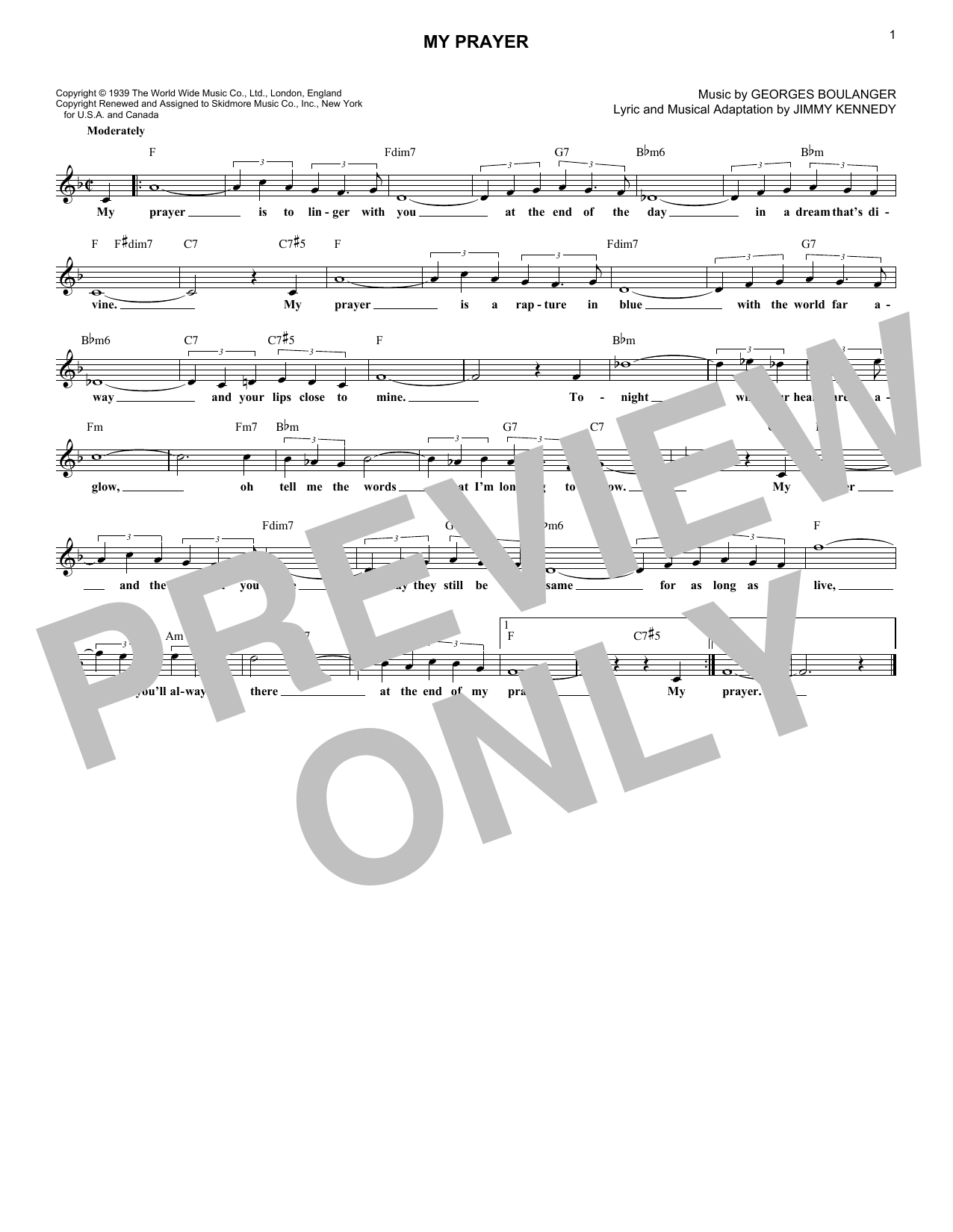 My Prayer (Lead Sheet / Fake Book)
