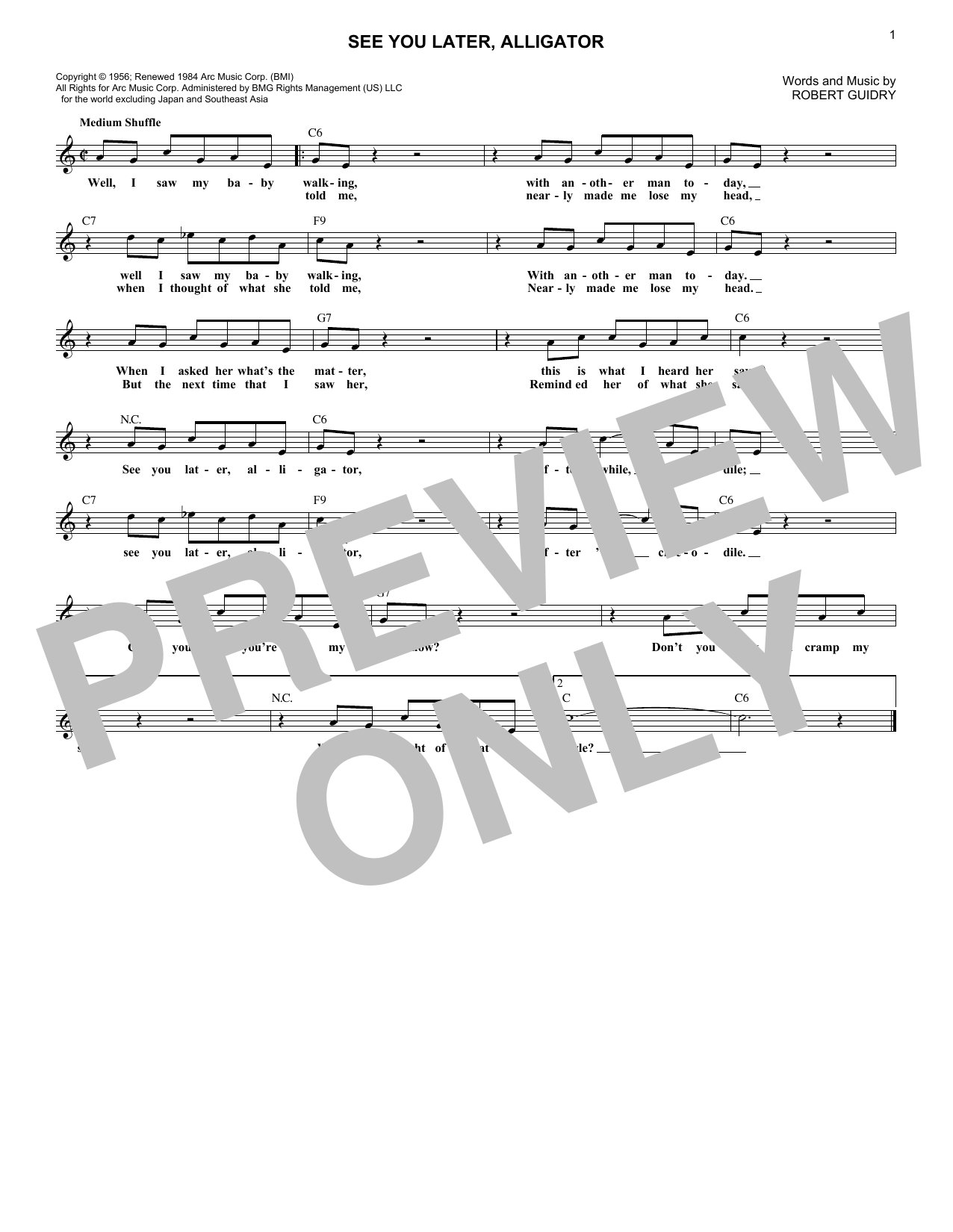 See You Later, Alligator (Lead Sheet / Fake Book)