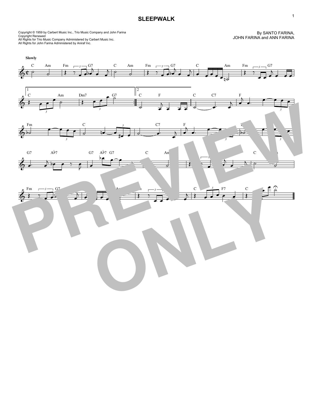 Sleepwalk (Instrumental Version) (Lead Sheet / Fake Book)
