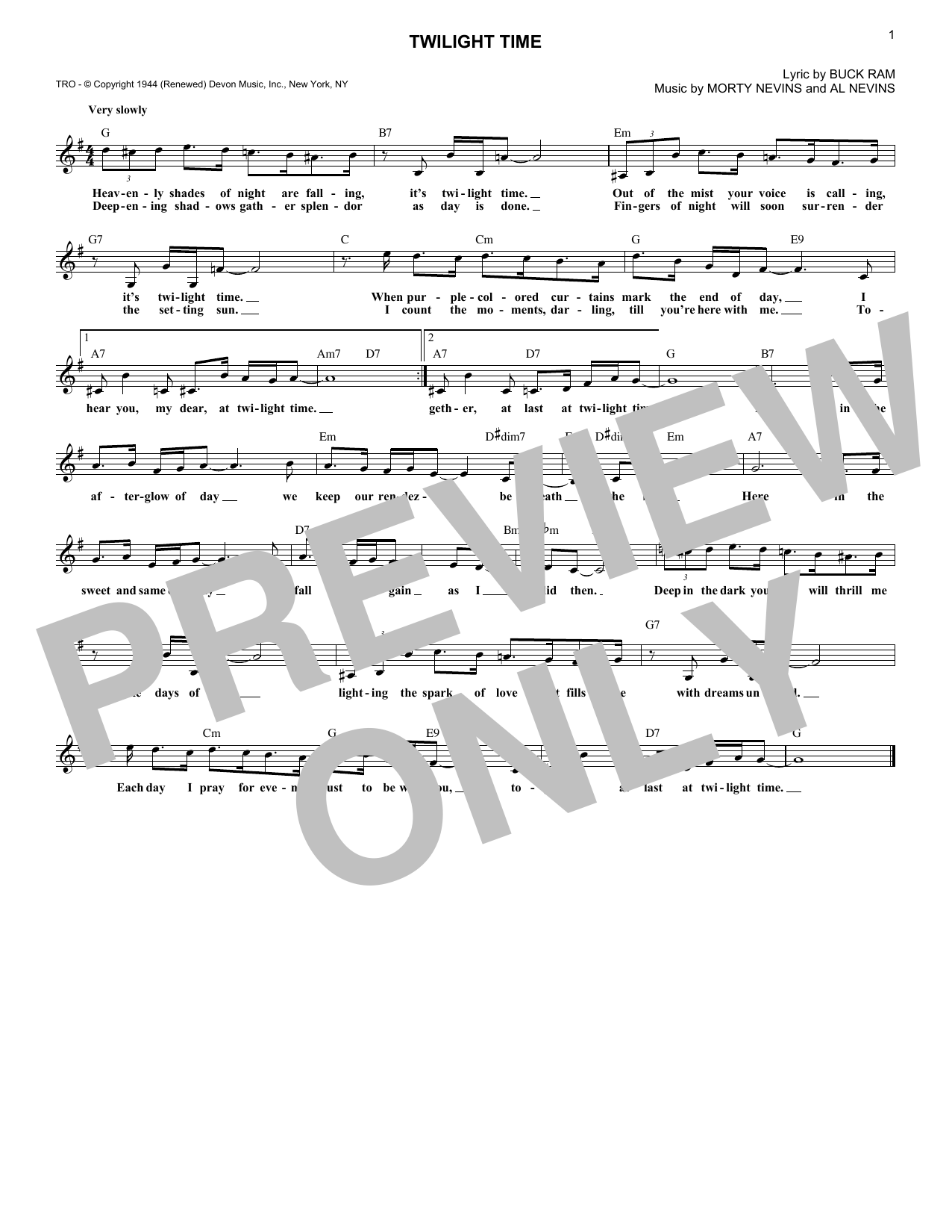 Twilight Time (Lead Sheet / Fake Book)