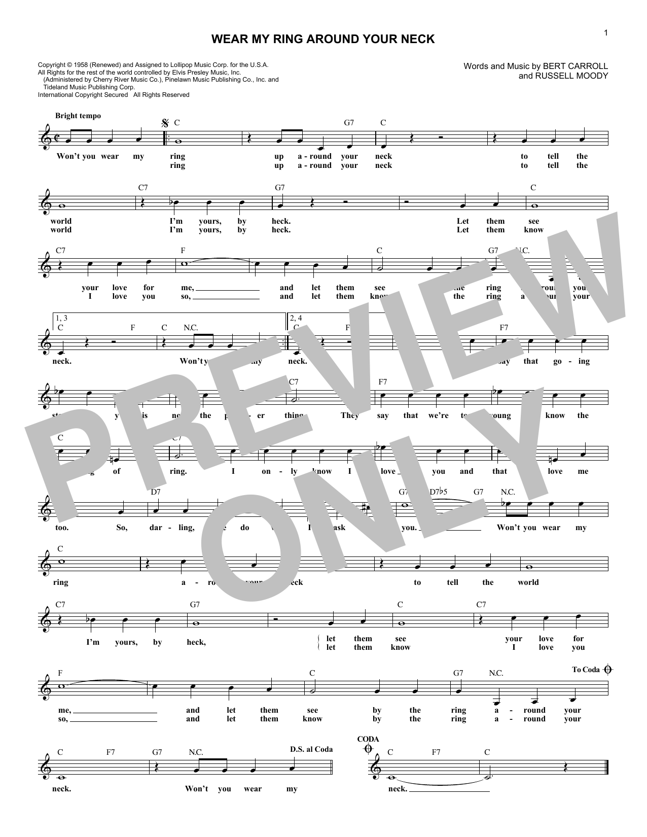 Wear My Ring Around Your Neck (Lead Sheet / Fake Book)