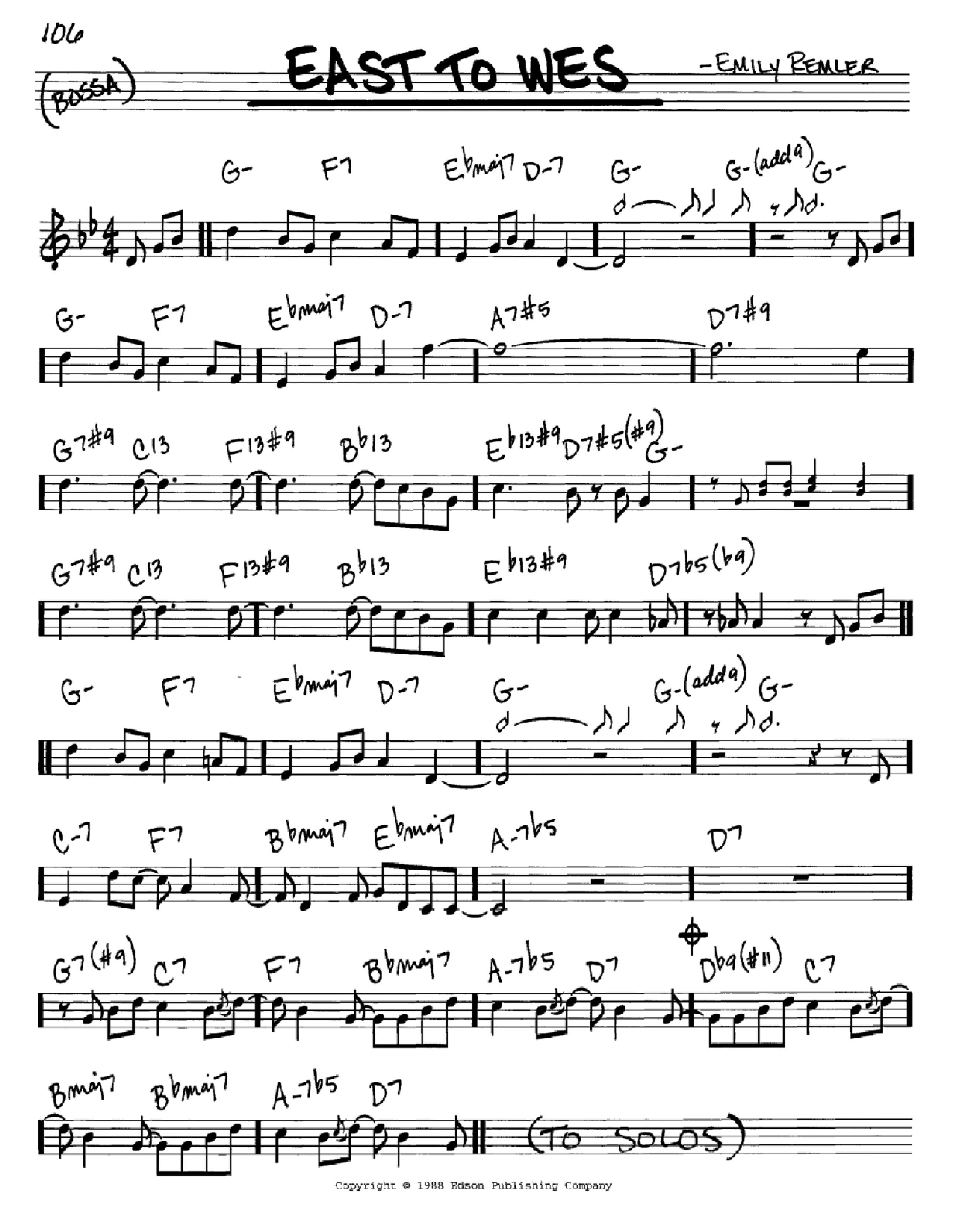 East To Wes Sheet Music