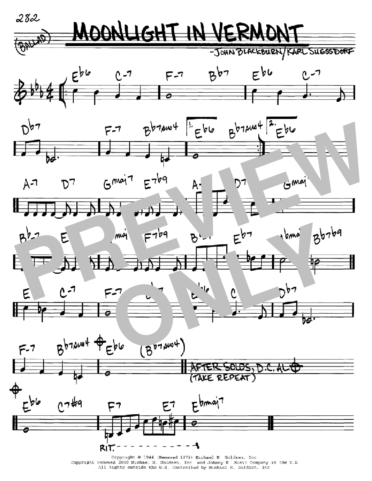 Moonlight In Vermont (Real Book – Melody & Chords – C Instruments)