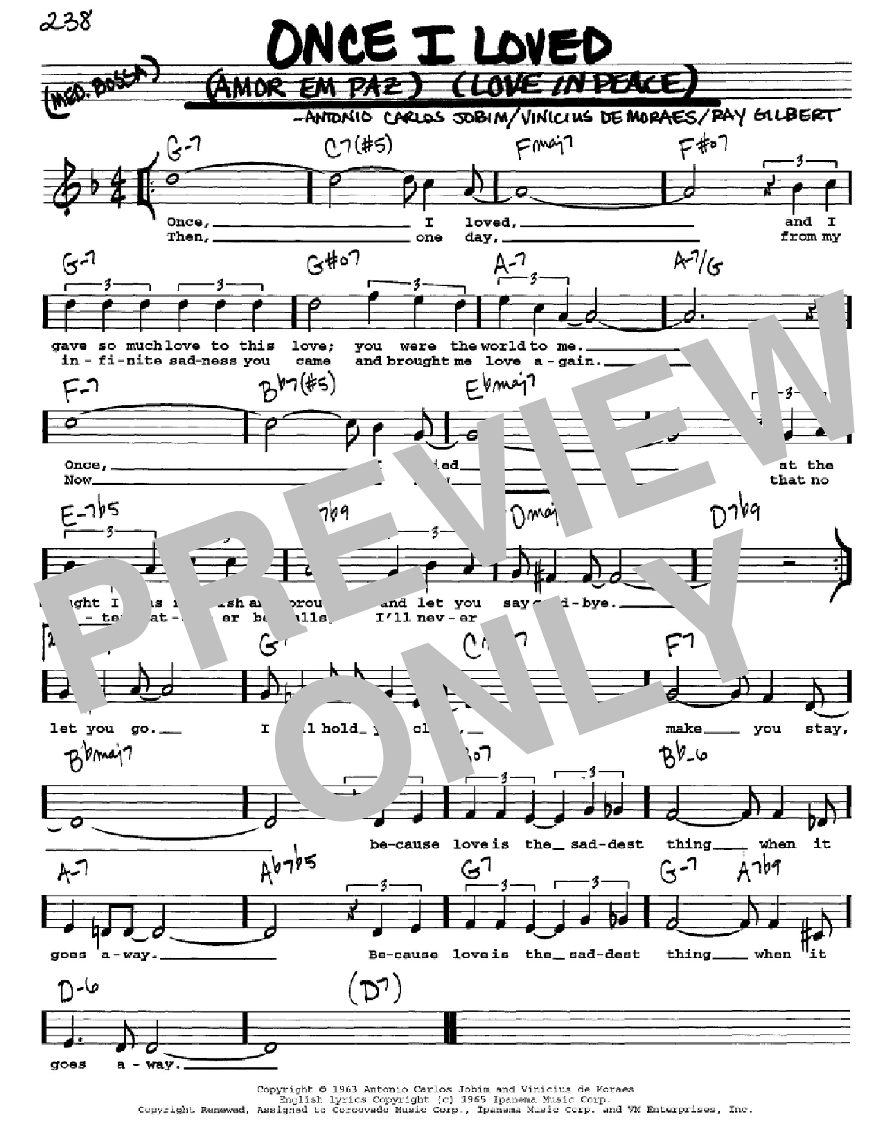 Once I Loved (Amor Em Paz) (Love In Peace) (Real Book – Melody, Lyrics & Chords)