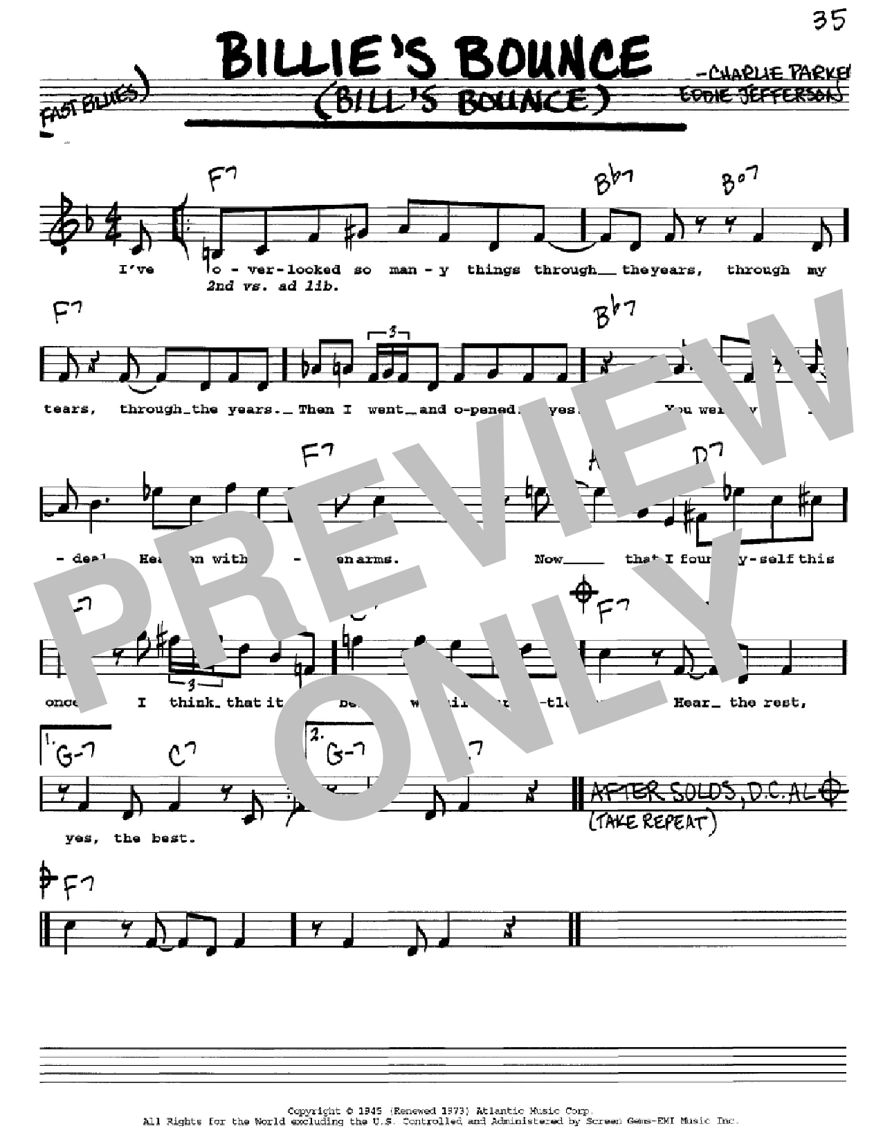 Billie's Bounce (Bill's Bounce) (Real Book – Melody, Lyrics & Chords)