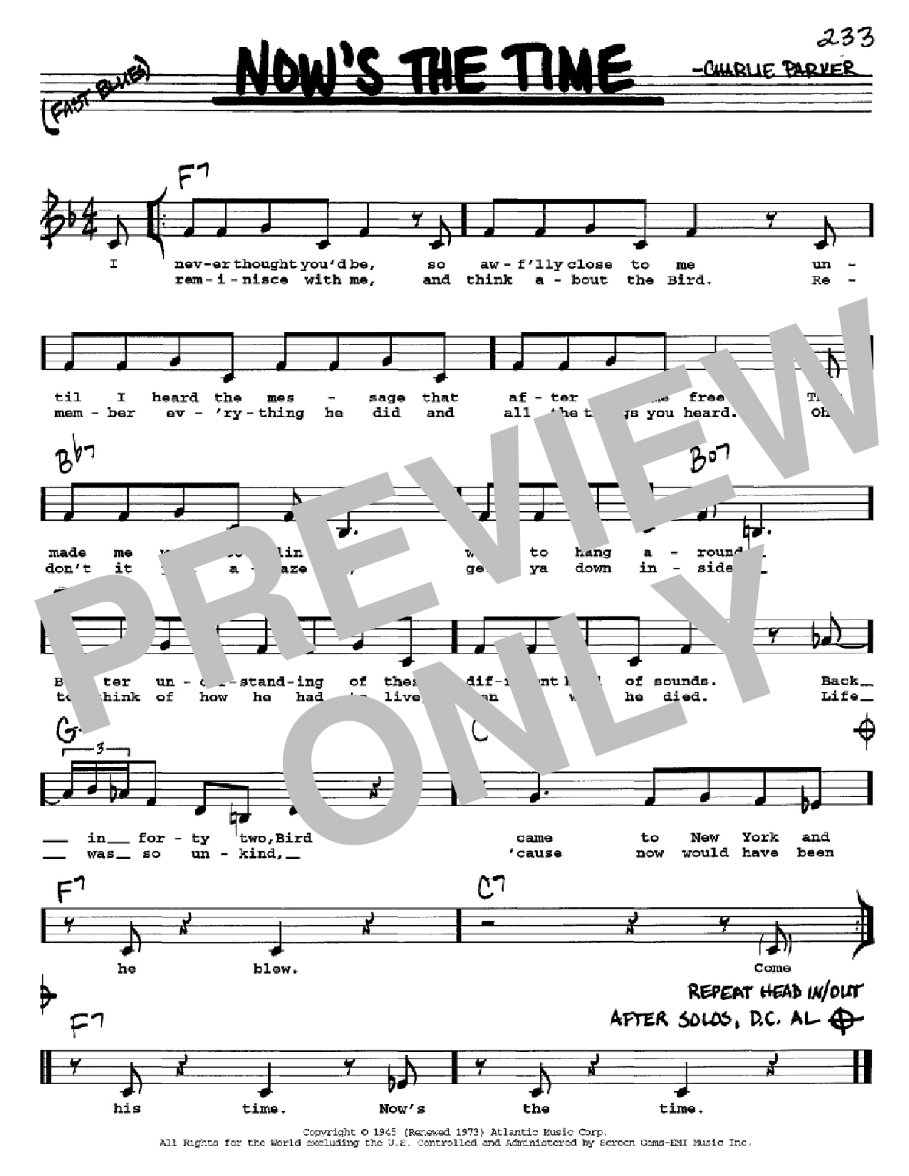 Now's The Time (Real Book – Melody, Lyrics & Chords)