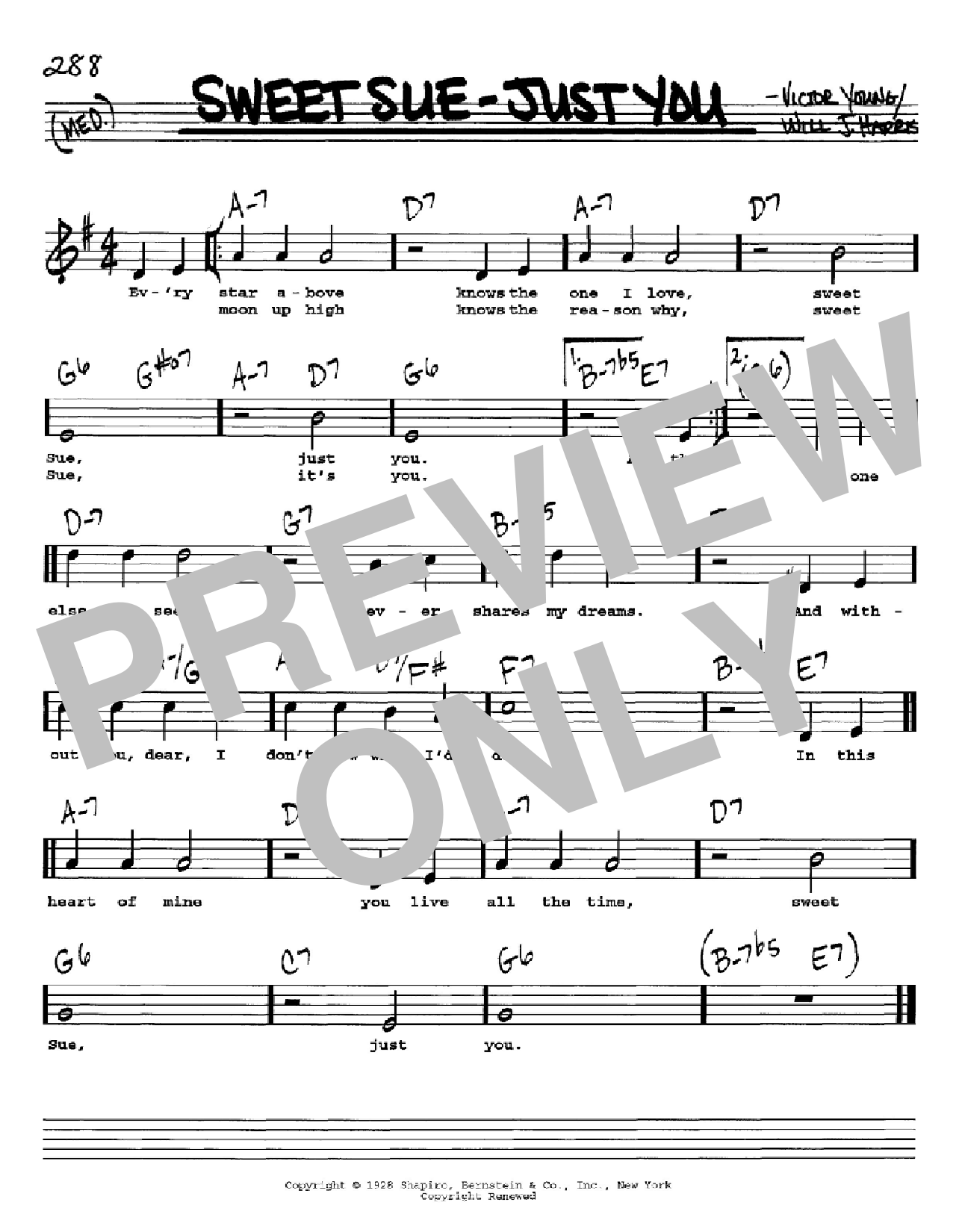 Sweet Sue-Just You Sheet Music