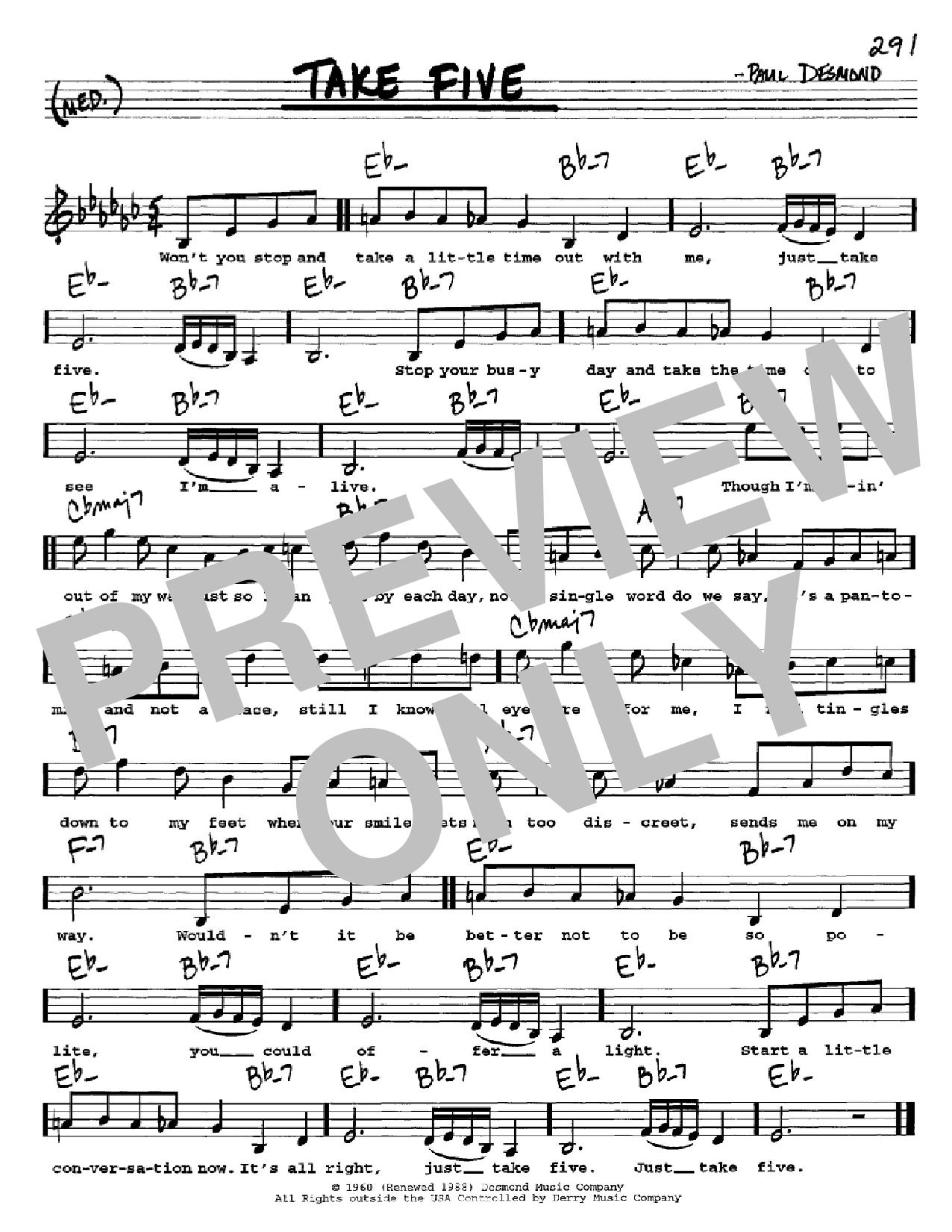 Take Five (Real Book – Melody, Lyrics & Chords)