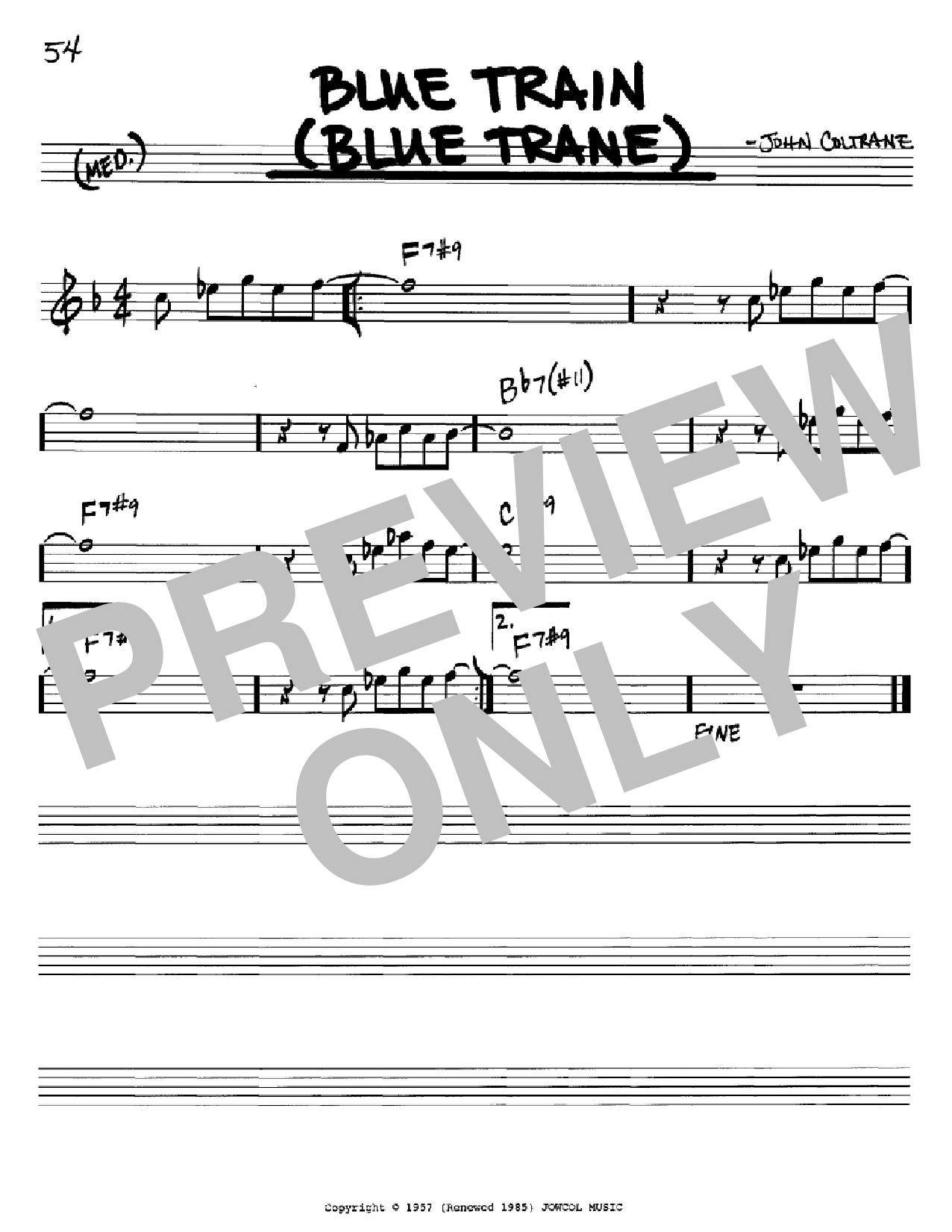 Blue Train (Blue Trane) (Real Book – Melody & Chords – Bb Instruments)