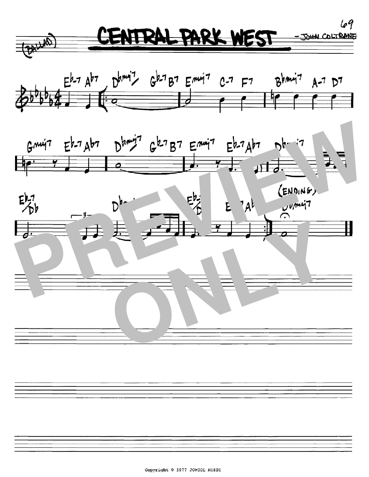 Central Park West (Real Book – Melody & Chords – Bb Instruments)