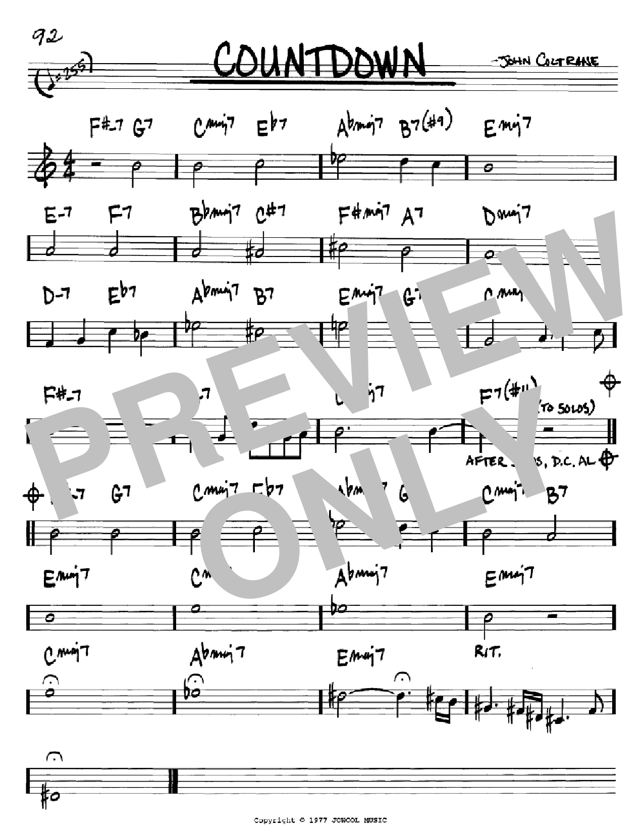 Countdown (Real Book – Melody & Chords – Bb Instruments)