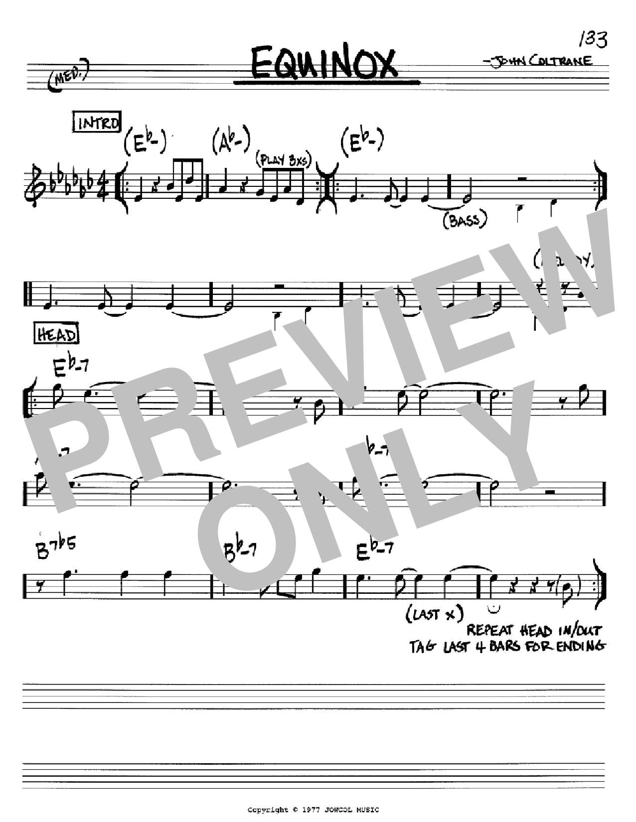 Equinox (Real Book – Melody & Chords – Bb Instruments)