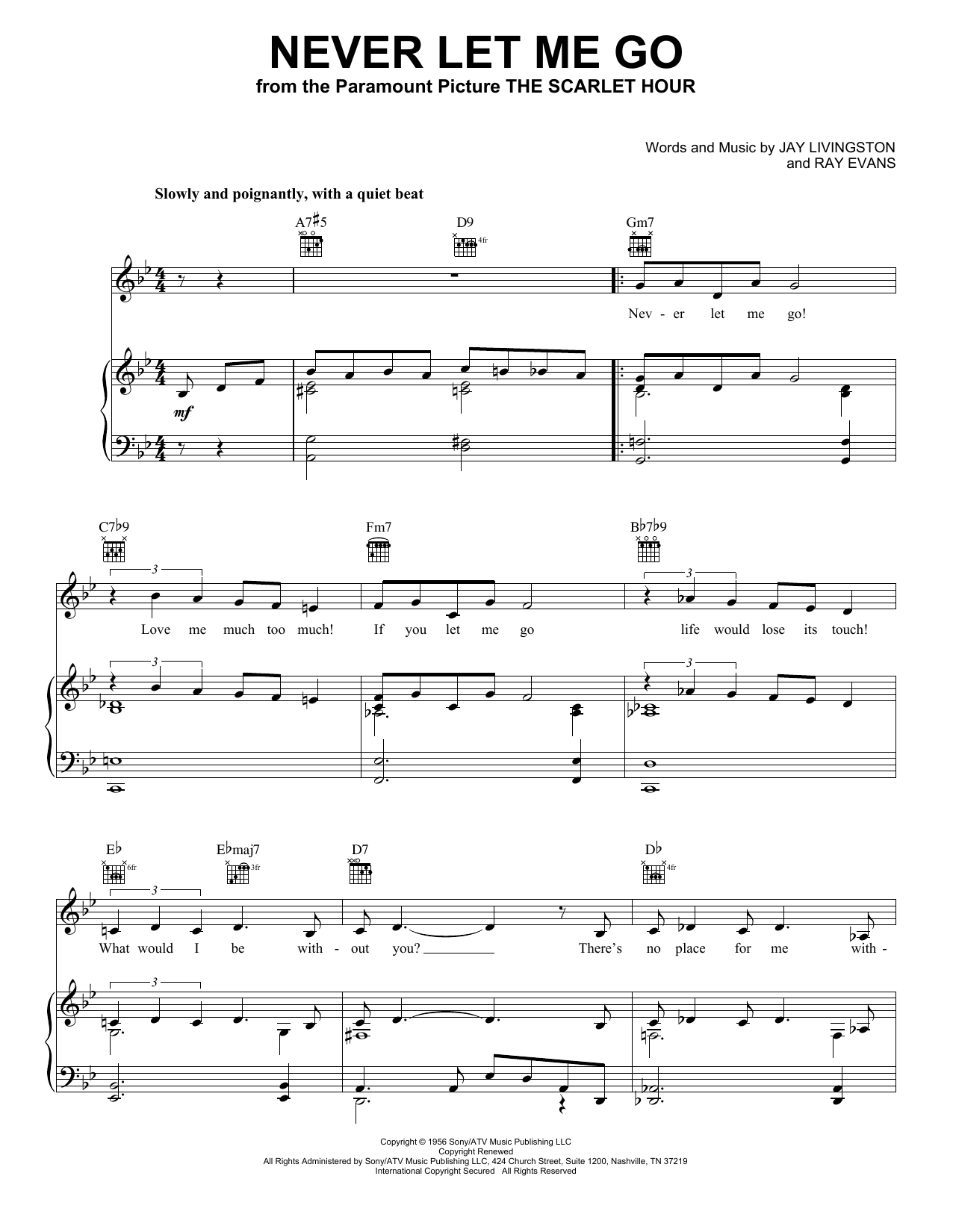 Never Let Me Go (Piano, Vocal & Guitar (Right-Hand Melody))