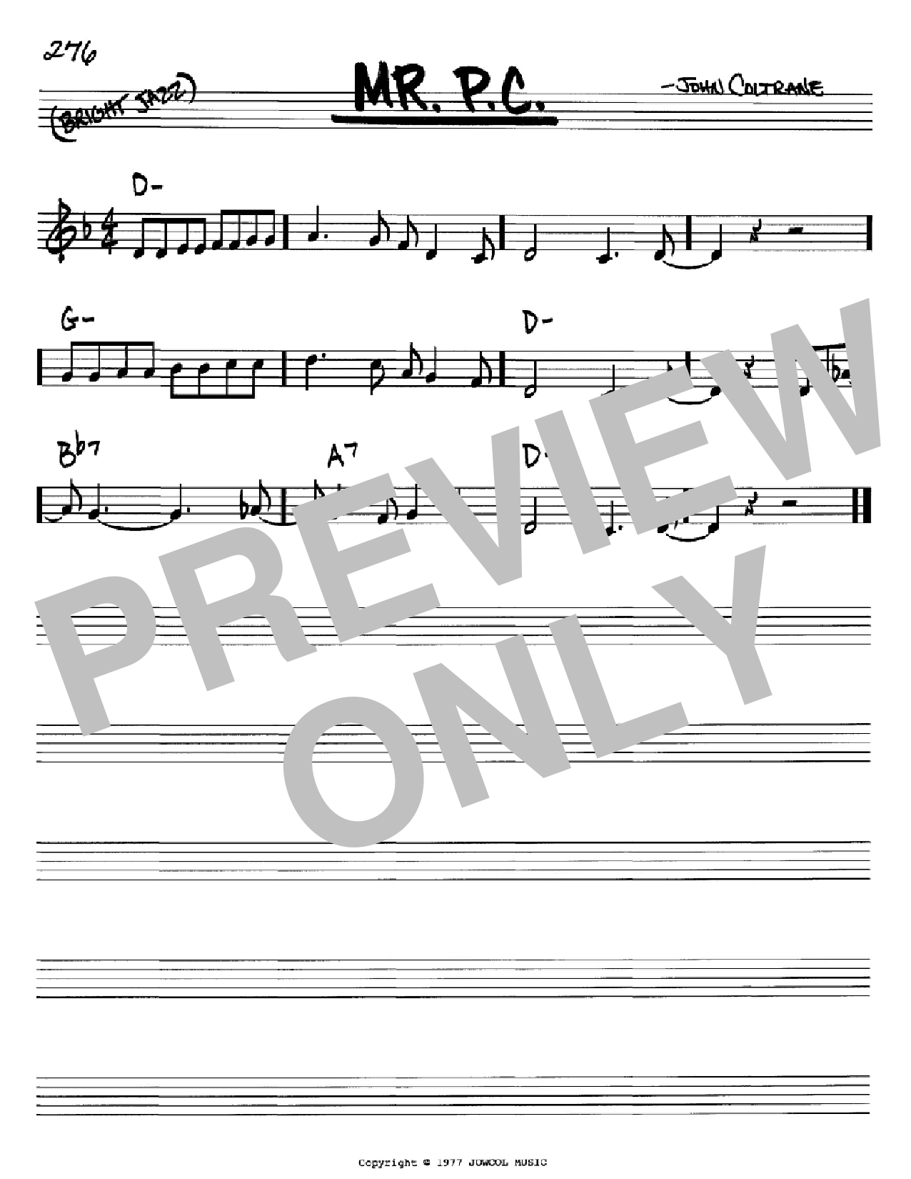 Mr. P.C. (Real Book – Melody & Chords – Bb Instruments)