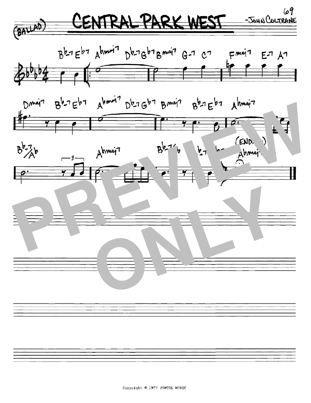 Central Park West (Real Book – Melody & Chords – Eb Instruments)