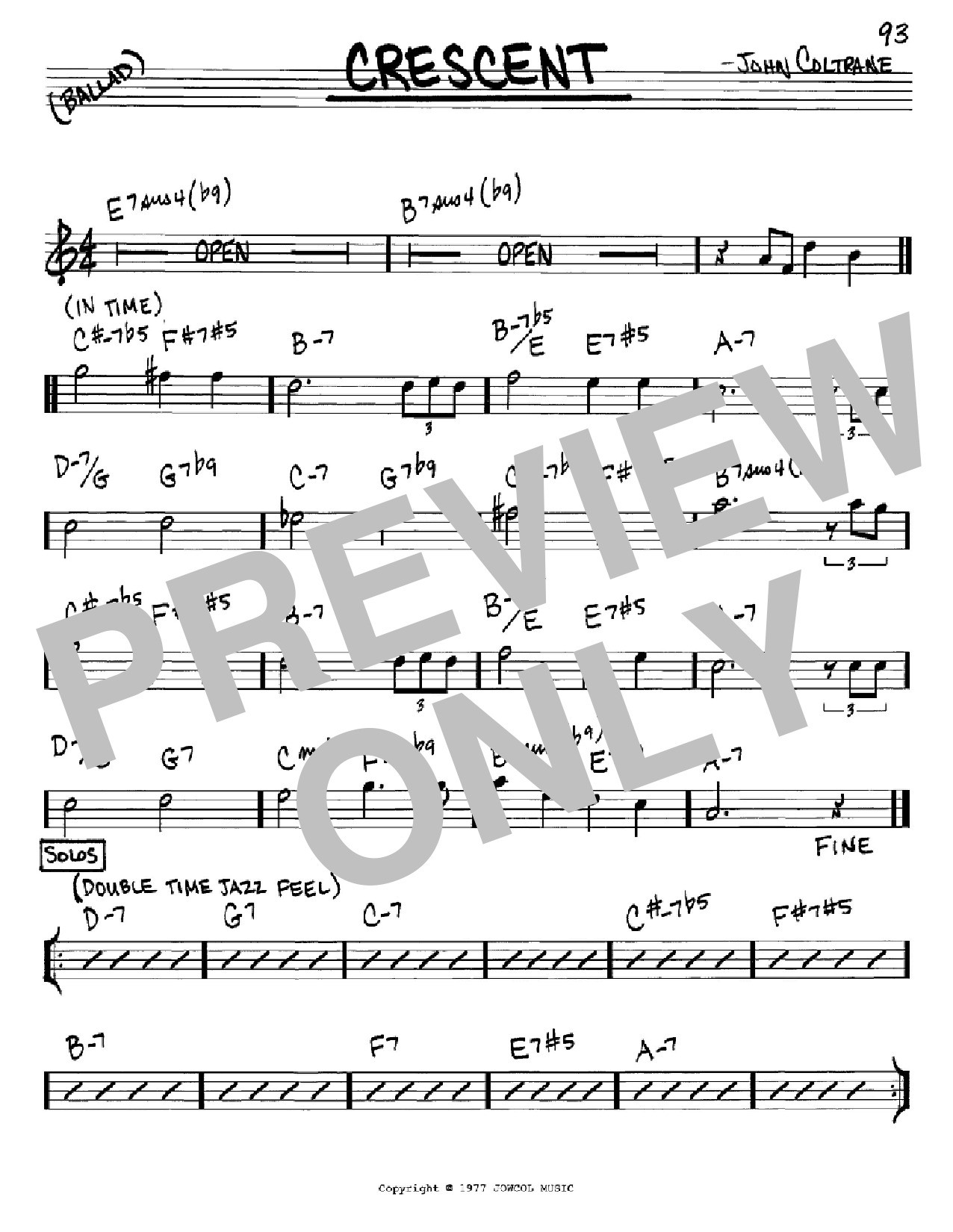 Crescent (Real Book – Melody & Chords – Eb Instruments)