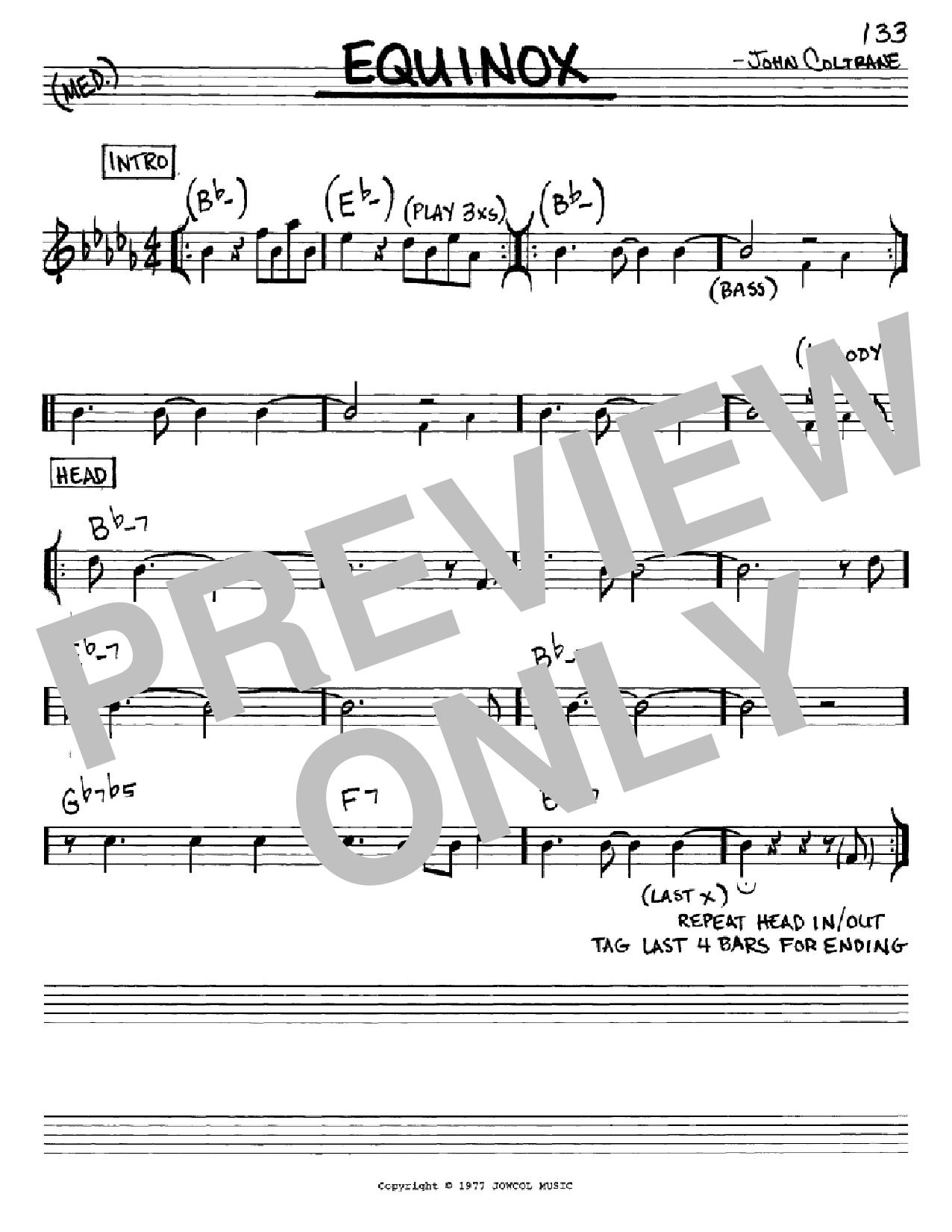 Equinox (Real Book – Melody & Chords – Eb Instruments)