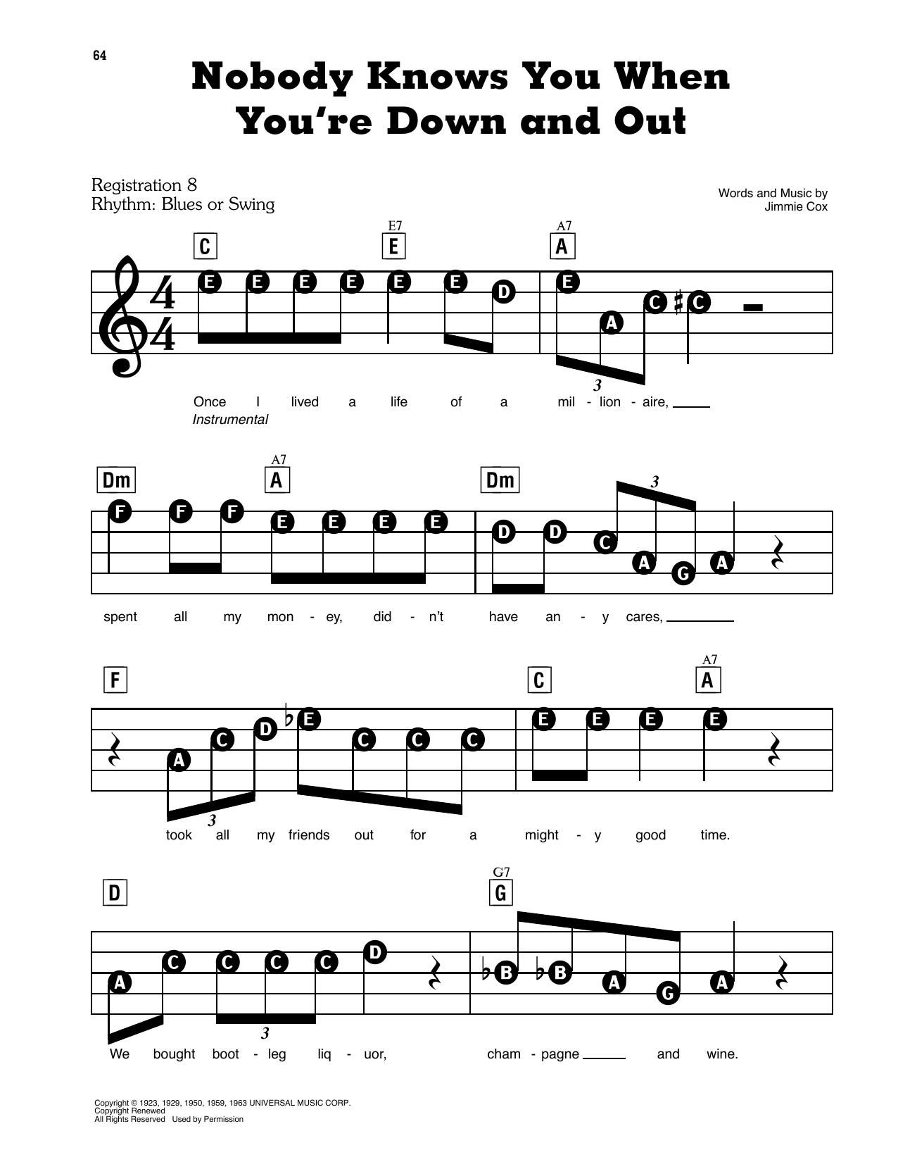 Nobody Knows You When You're Down And Out (Nobody Knows When You're Down And Out) Sheet Music