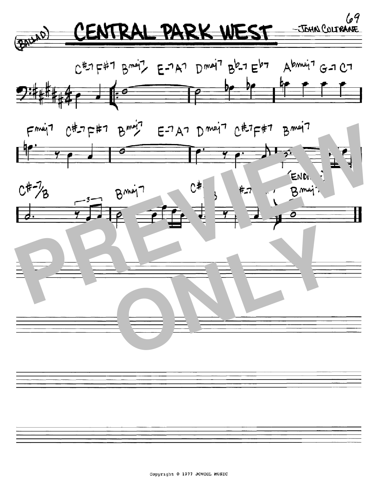Central Park West (Real Book – Melody & Chords – Bass Clef Instruments)