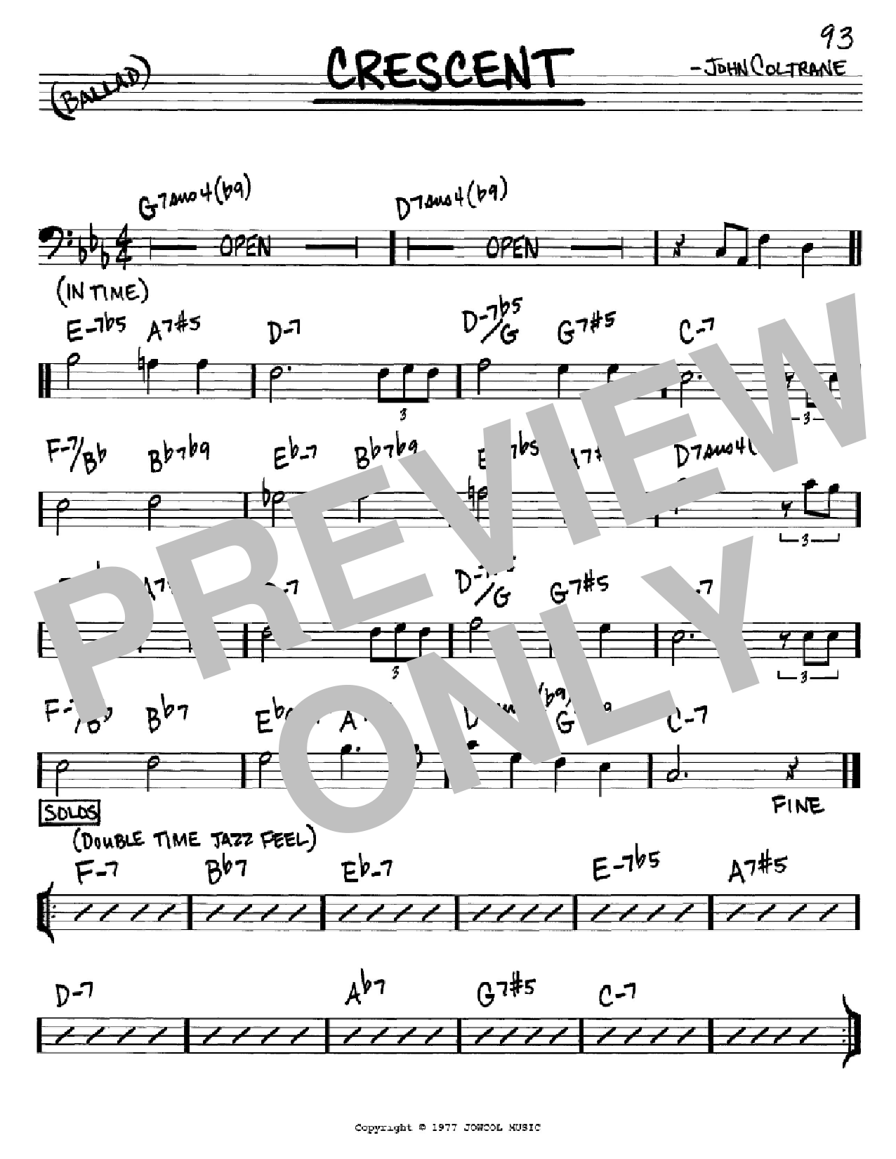 Crescent (Real Book – Melody & Chords – Bass Clef Instruments)