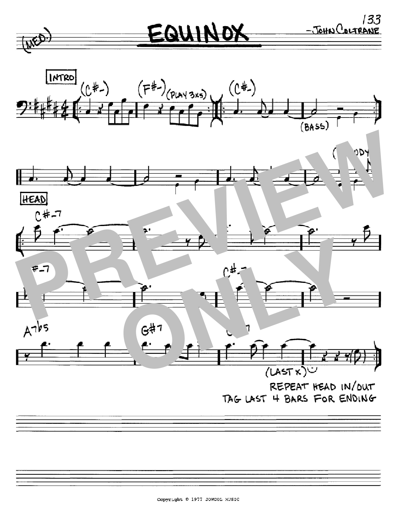Equinox (Real Book – Melody & Chords – Bass Clef Instruments)
