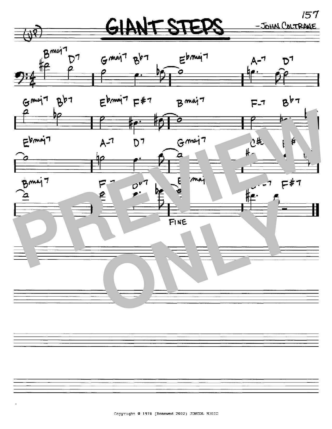 Giant Steps (Real Book – Melody & Chords – Bass Clef Instruments)