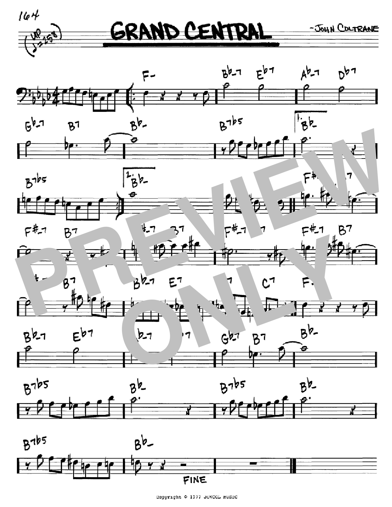 Grand Central (Real Book – Melody & Chords – Bass Clef Instruments)