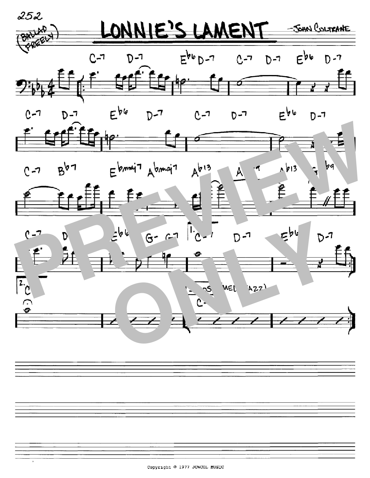Lonnie's Lament (Real Book – Melody & Chords – Bass Clef Instruments)