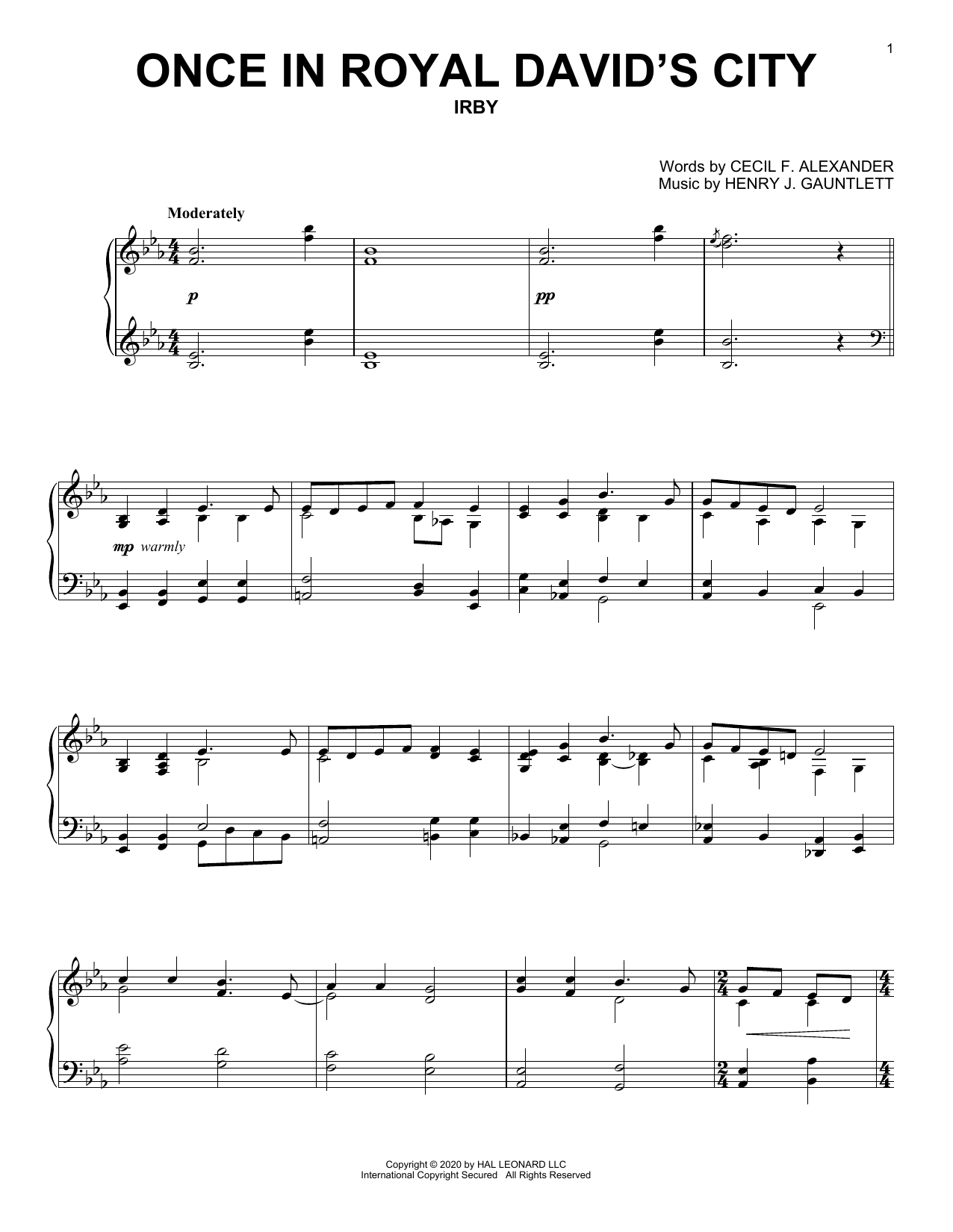 Once In Royal David's City (Piano Solo)