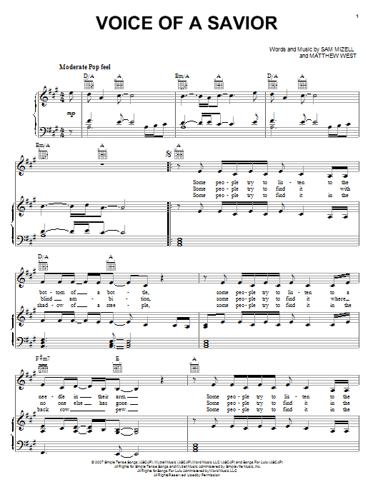 Voice Of A Savior (Piano, Vocal & Guitar (Right-Hand Melody))