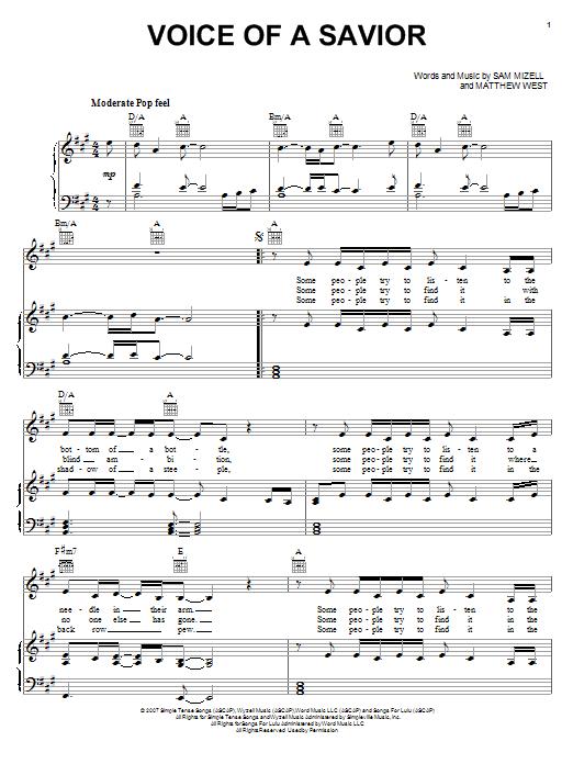 Voice Of A Savior Sheet Music