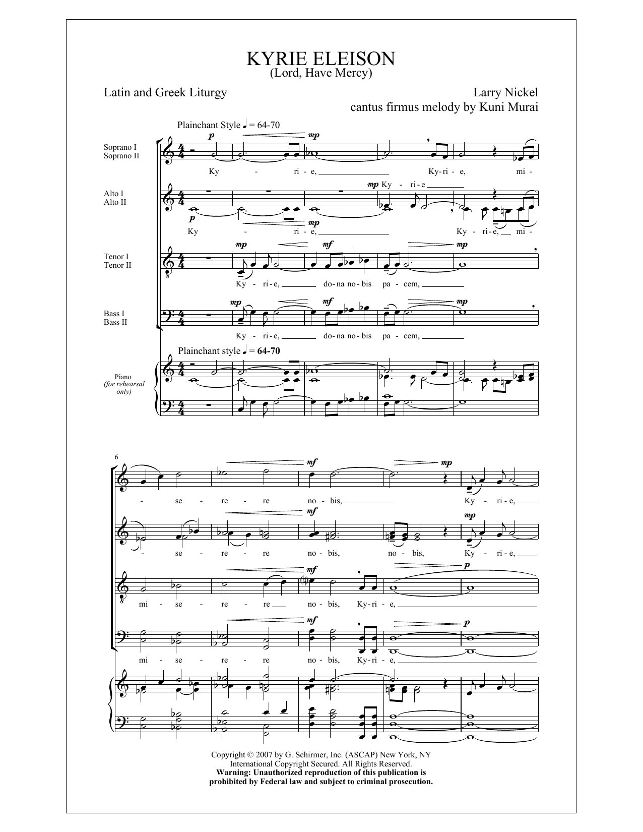 Vocal Scores - Choral 'Print-on-Demand' Kyrie Eleison (Lord, Have