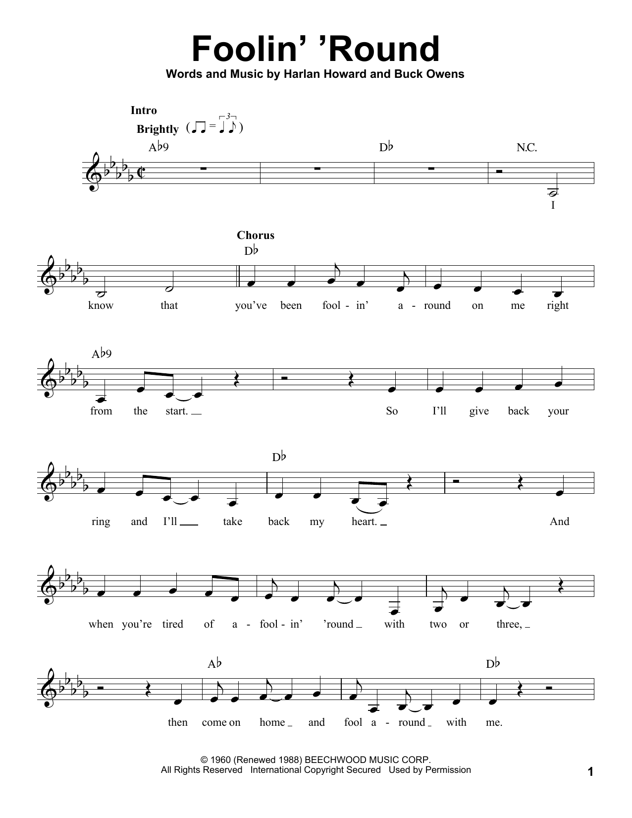 Foolin' 'Round Sheet Music