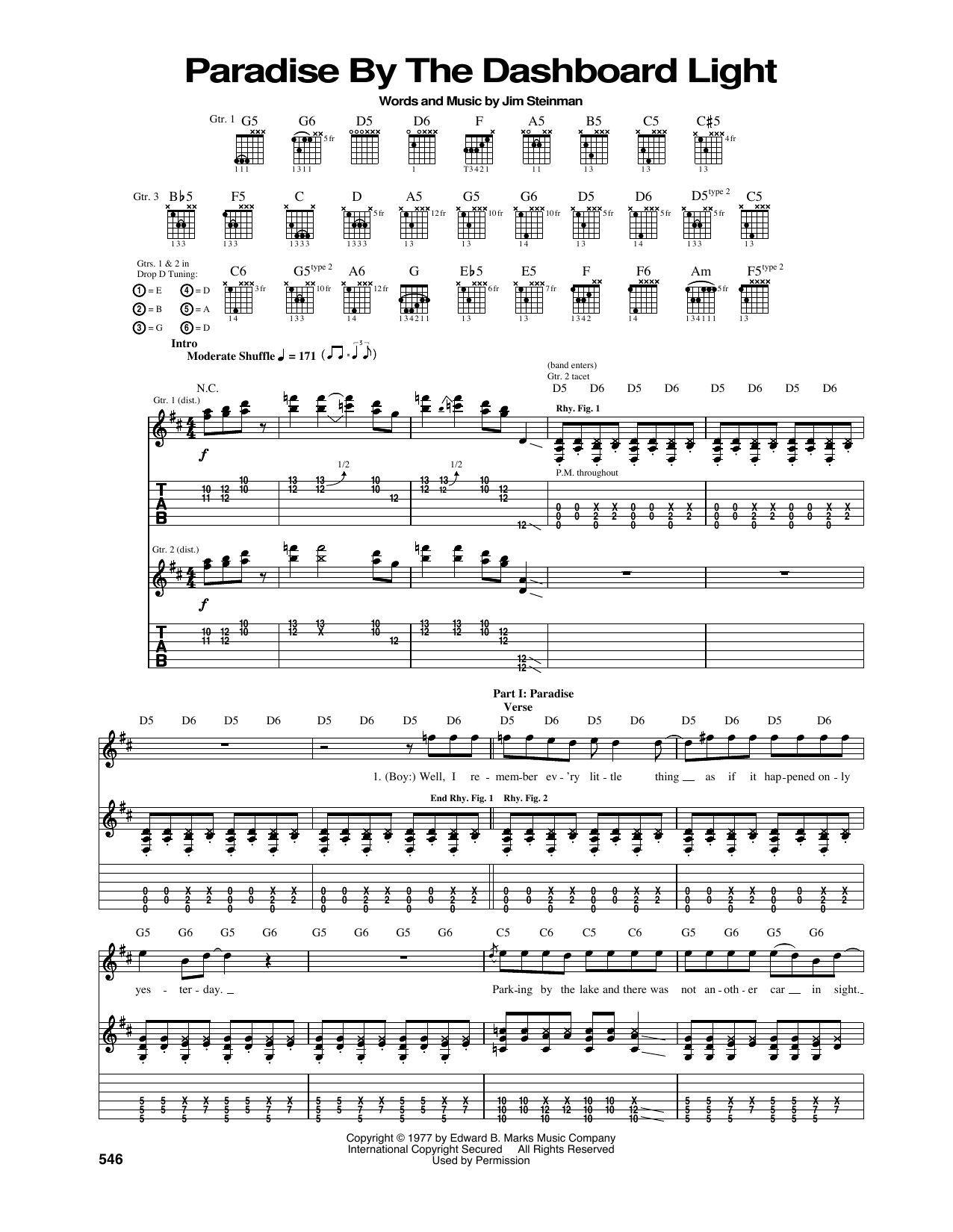 Paradise By The Dashboard Light (Guitar Tab)