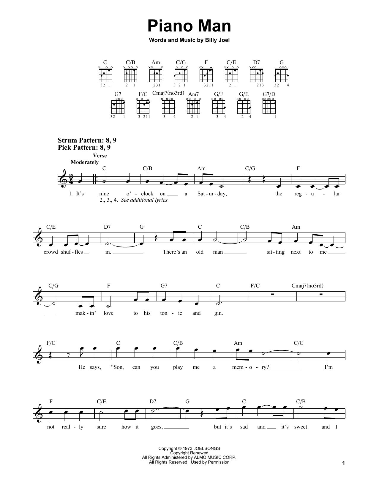 Piano Man (Easy Guitar)