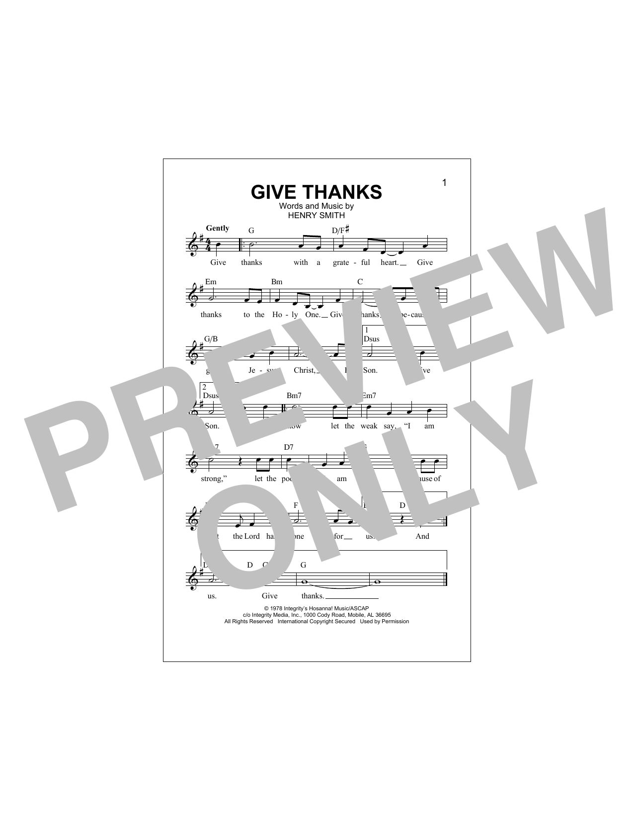 Give Thanks Sheet Music