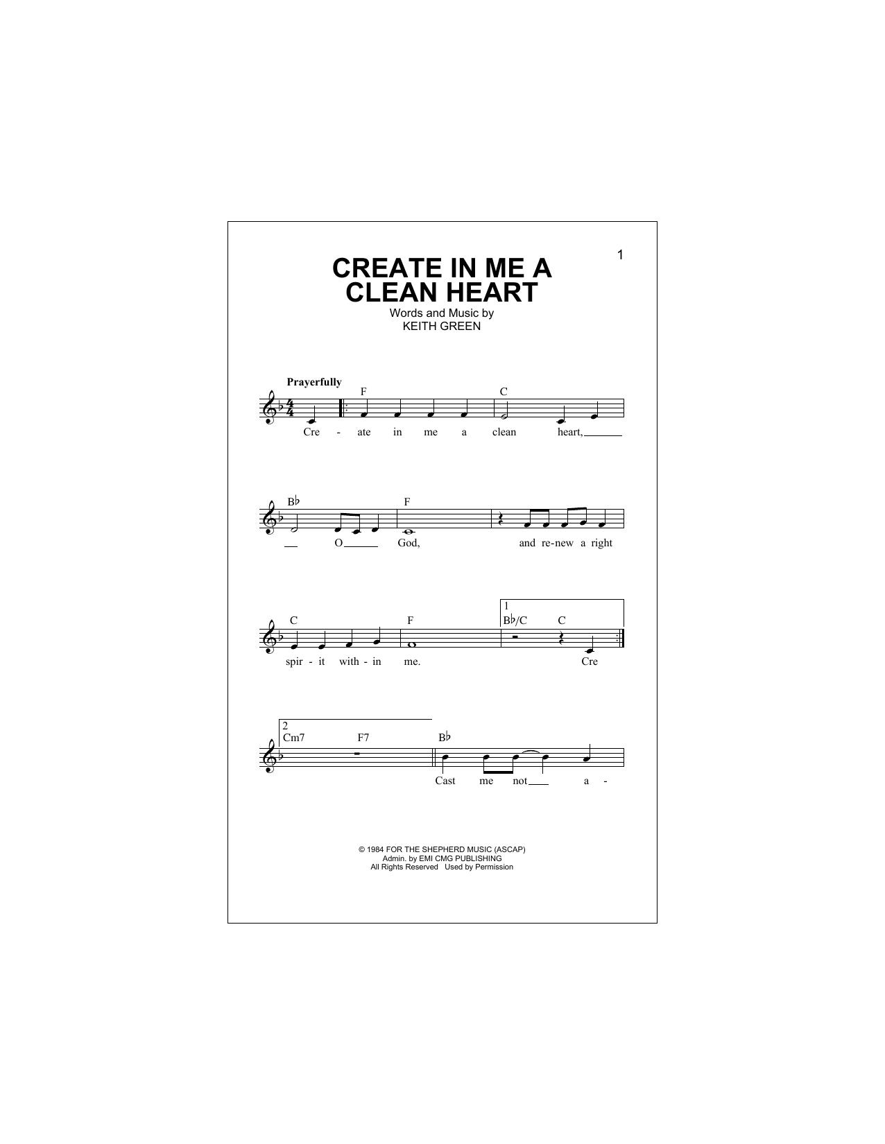Create In Me A Clean Heart (Lead Sheet / Fake Book)