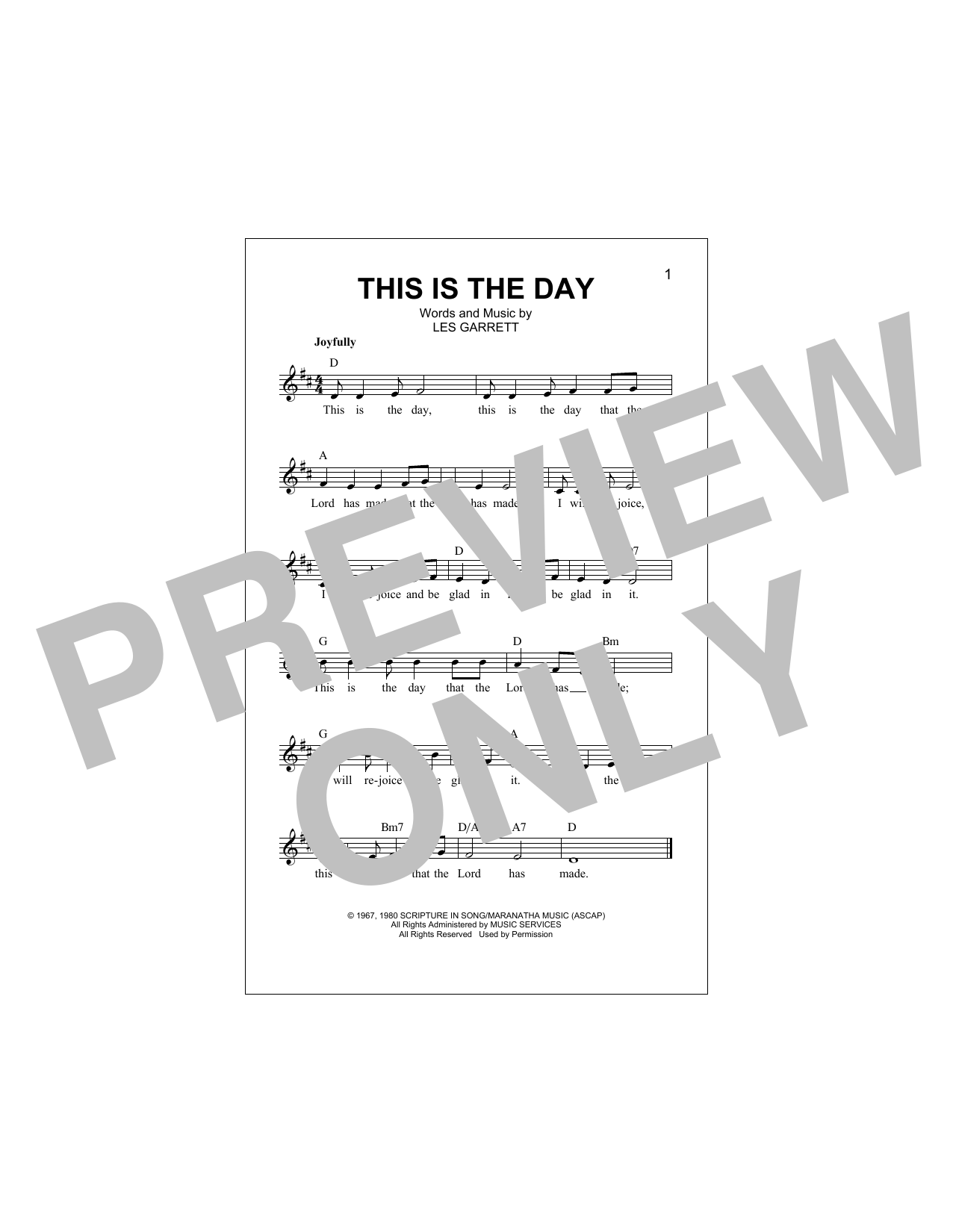 This Is The Day Sheet Music