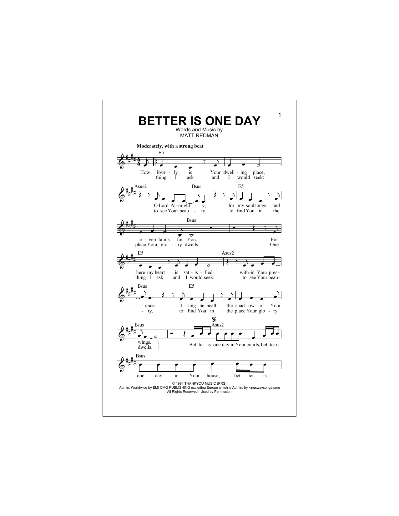 Better Is One Day (Lead Sheet / Fake Book)