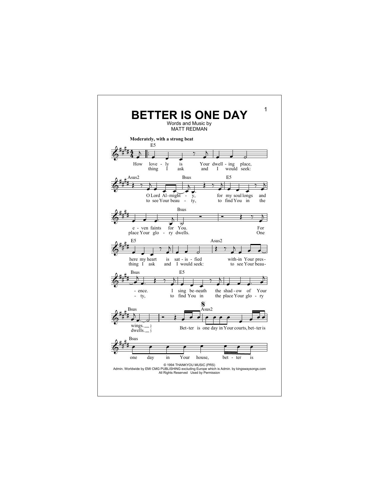 Better Is One Day Sheet Music Matt Redman Melody Line Lyrics