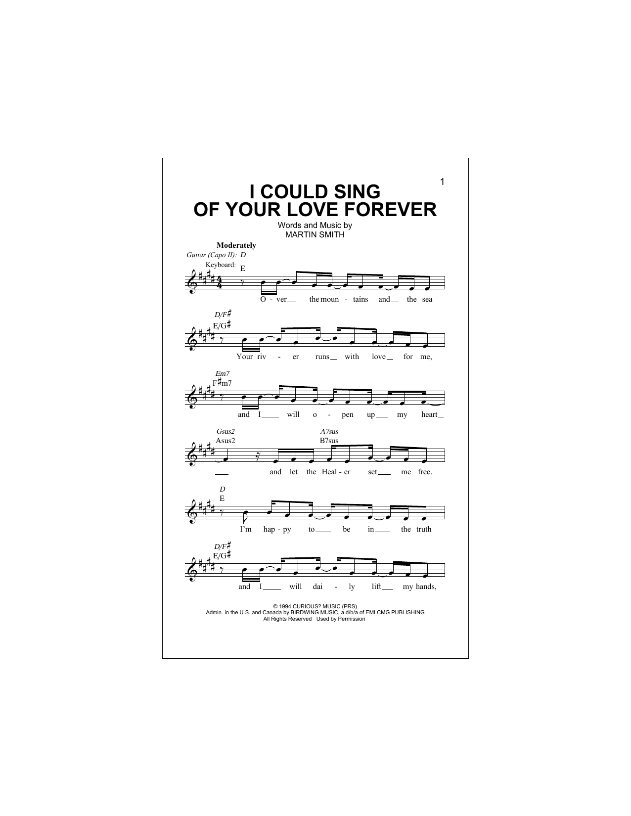 I Could Sing Of Your Love Forever Sheet Music