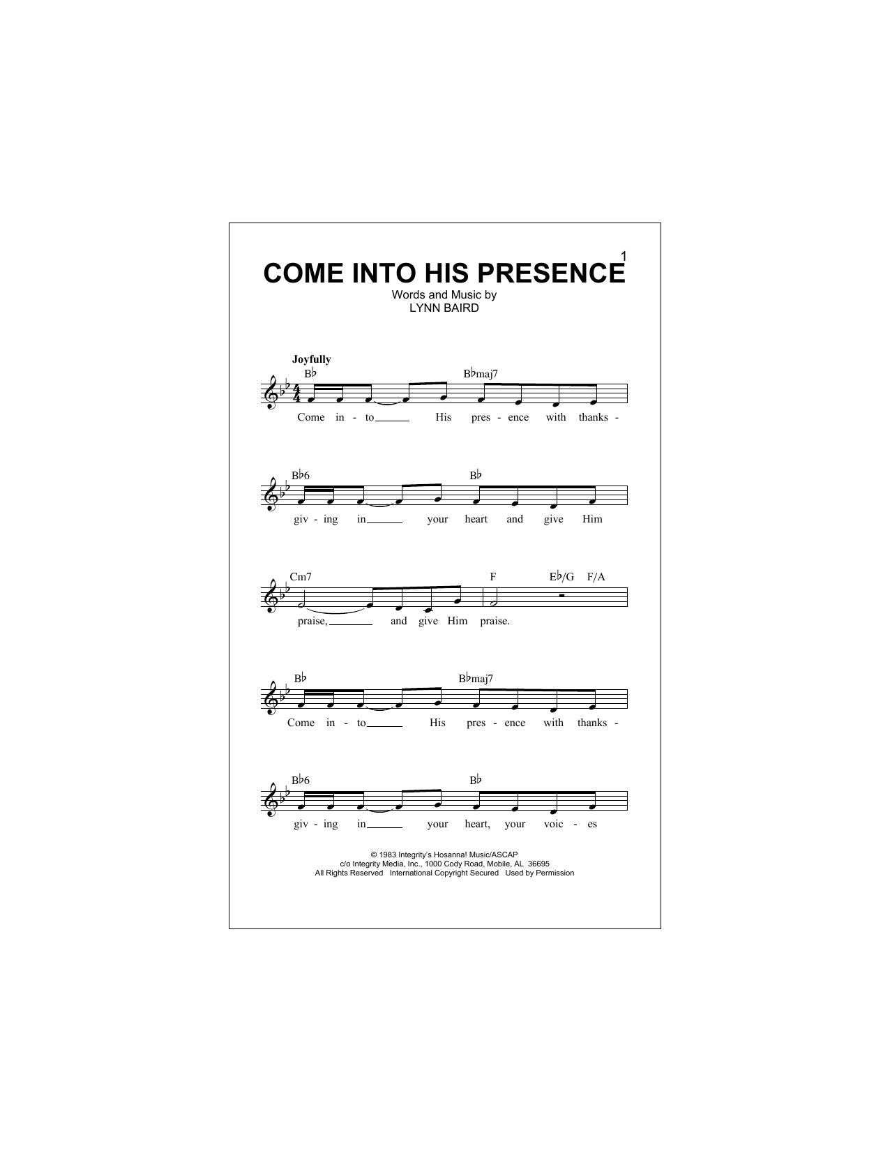 Come Into His Presence (Lead Sheet / Fake Book)