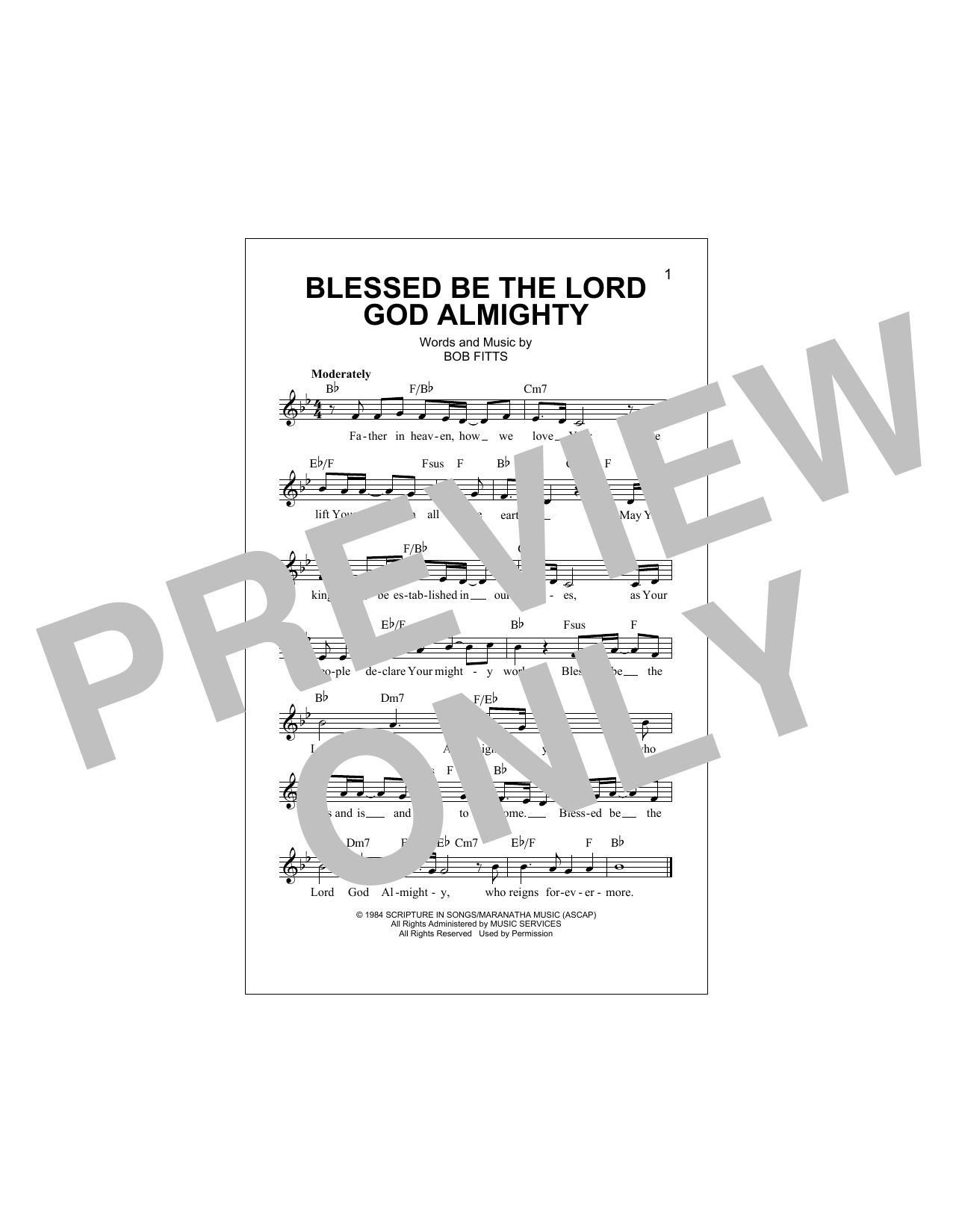 Blessed Be The Lord God Almighty Sheet Music