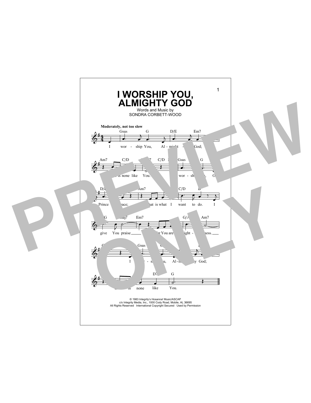 I Worship You, Almighty God Sheet Music