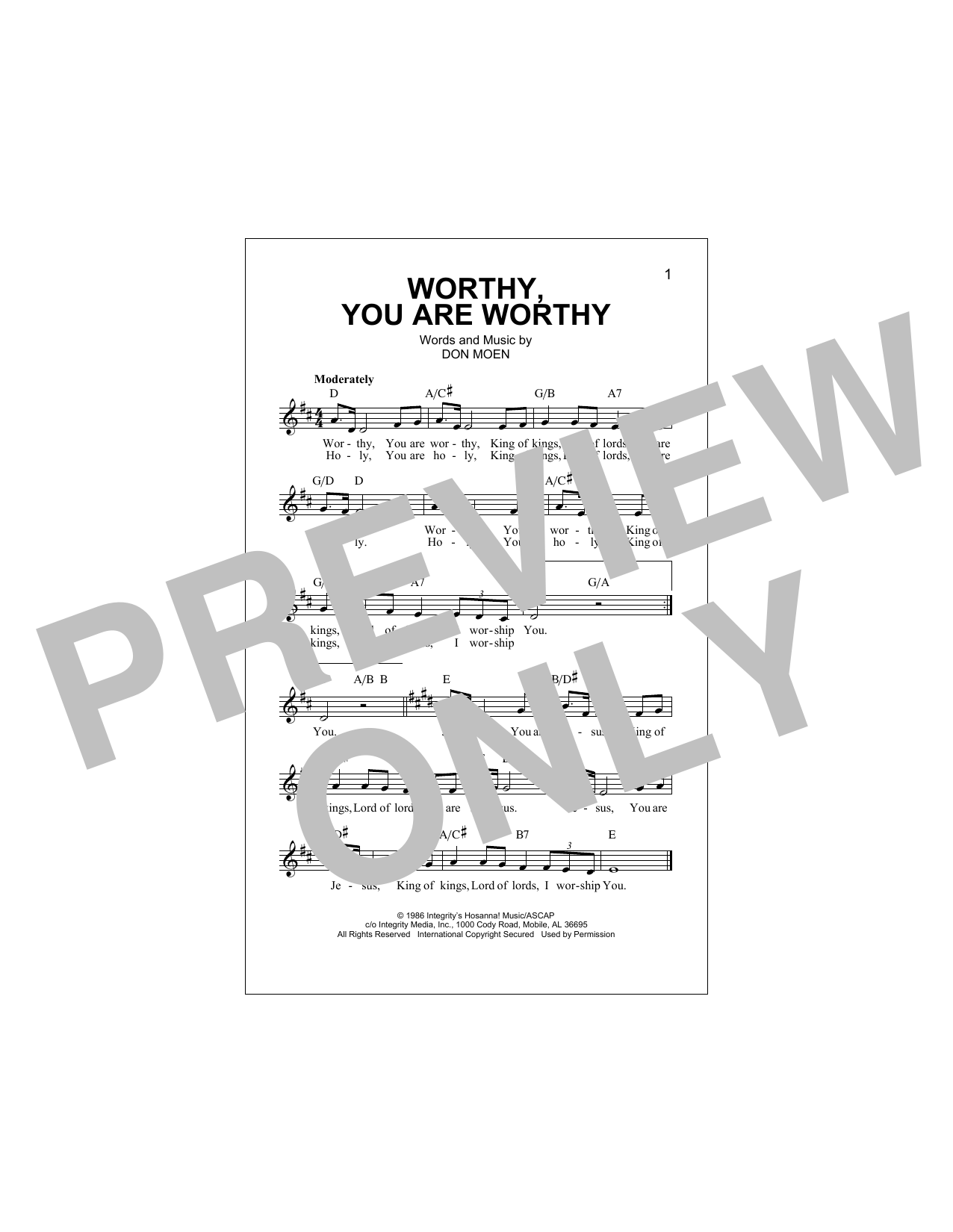 Worthy, You Are Worthy Sheet Music
