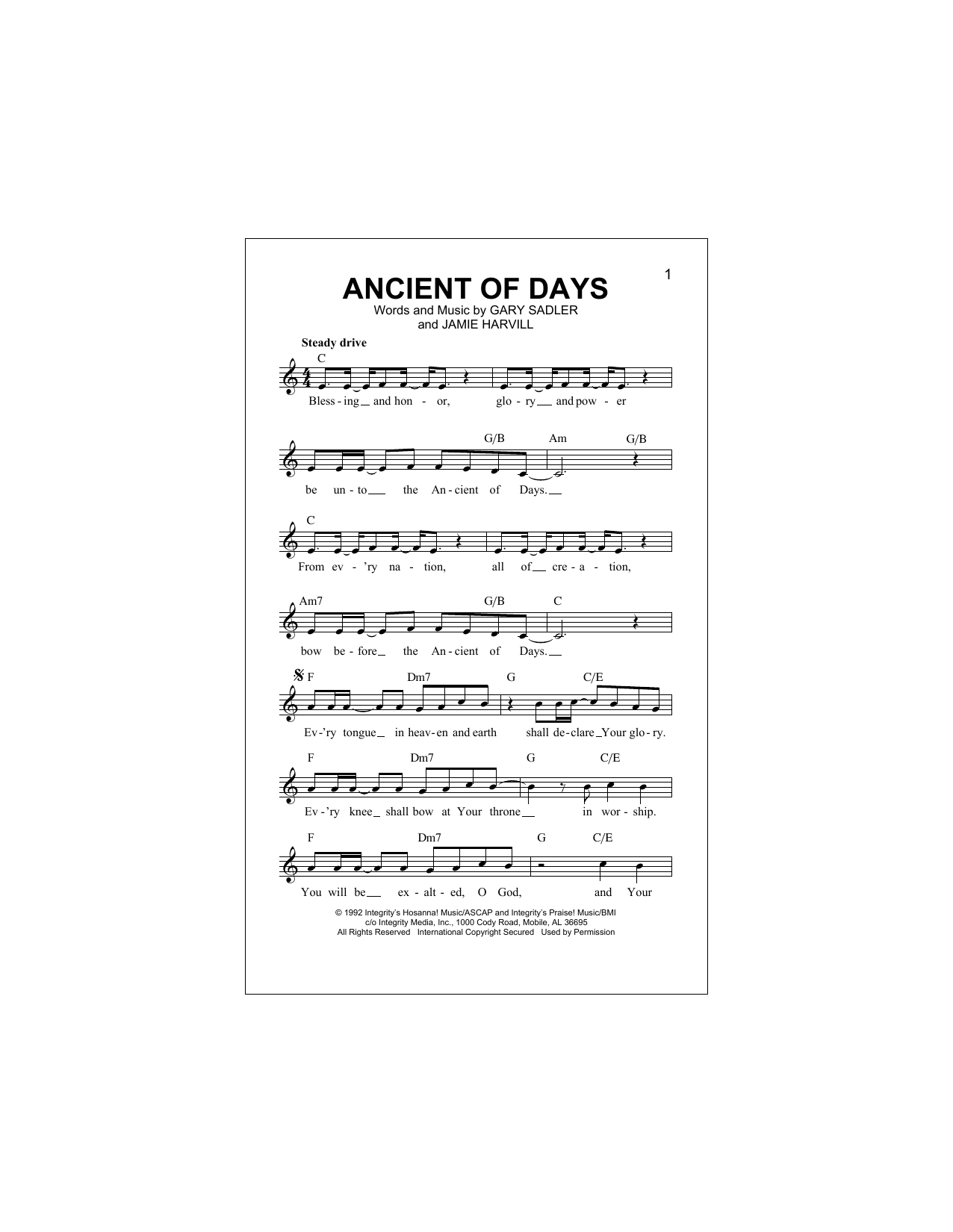 Ancient Of Days (Lead Sheet / Fake Book)