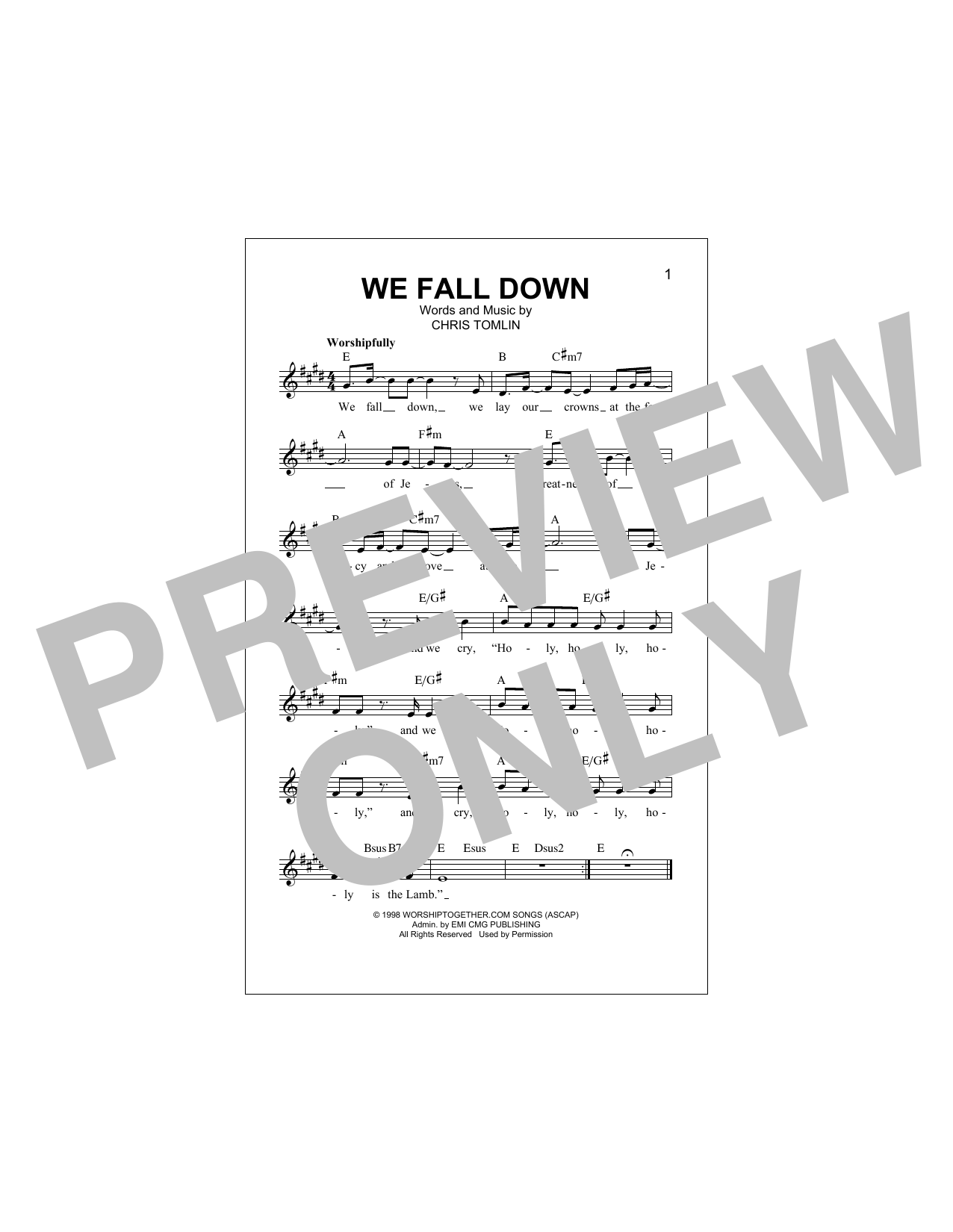 We Fall Down (Lead Sheet / Fake Book)